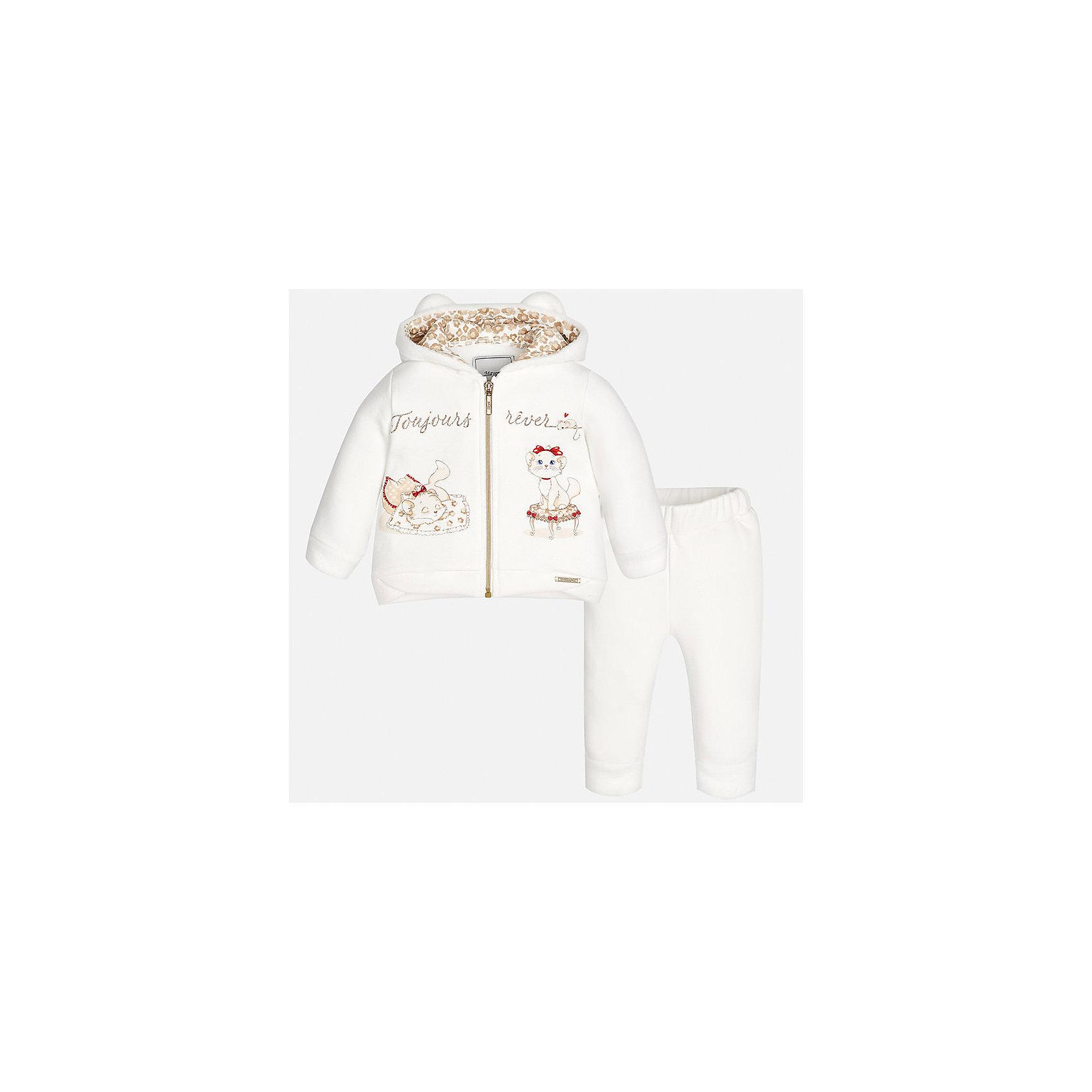Спортивный костюм Mayoral для девочкиКомплекты<br>Характеристики товара:<br><br>• цвет: бежевый<br>• состав ткани: 65% хлопок, 30% полиэстер, 5% эластан<br>• комплект: курточка и брюки<br>• сезон: демисезон<br>• особенности: спортивный стиль<br>• длинные рукава<br>• застежка: молния<br>• пояс: резинка<br>• страна бренда: Испания<br>• страна изготовитель: Индия<br><br>В симпатичном детском спортивном костюме от испанской компании Майорал ребенок будет выглядеть модно, а чувствовать себя - комфортно. Спортивный костюм для ребенка сделан материала с преобладанием натурального хлопка в составе. Этот комплект для занятий спортом хорошо сидит по фигуре.<br><br>Спортивный костюм для девочки Mayoral (Майорал) можно купить в нашем интернет-магазине.<br><br>Ширина мм: 247<br>Глубина мм: 16<br>Высота мм: 140<br>Вес г: 225<br>Цвет: бежевый<br>Возраст от месяцев: 12<br>Возраст до месяцев: 15<br>Пол: Женский<br>Возраст: Детский<br>Размер: 80,98,86,92<br>SKU: 6920649