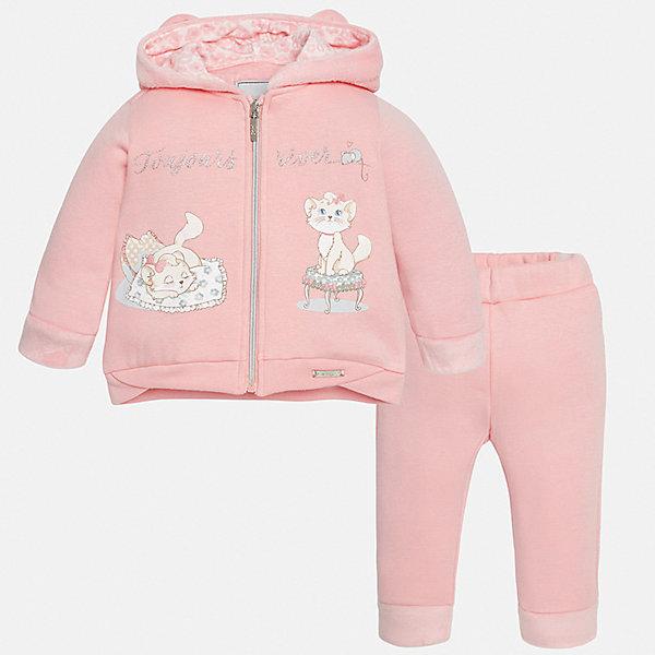 Спортивный костюм для девочки MayoralКомплекты<br>Характеристики товара:<br><br>• цвет: розовый<br>• состав ткани: 65% хлопок, 30% полиэстер, 5% эластан<br>• комплект: курточка и брюки<br>• сезон: демисезон<br>• особенности: спортивный стиль<br>• длинные рукава<br>• застежка: молния<br>• пояс: резинка<br>• страна бренда: Испания<br>• страна изготовитель: Индия<br><br>Спортивный костюм для ребенка сшит из качественного материала с преобладанием натурального хлопка в составе. Модный комплект для занятий спортом состоит из курточки с капюшоном и брюк. Европейские дизайнеры работали над созданием этого детского спортивного костюма. <br><br>Спортивный костюм для девочки Mayoral (Майорал) можно купить в нашем интернет-магазине.<br><br>Ширина мм: 247<br>Глубина мм: 16<br>Высота мм: 140<br>Вес г: 225<br>Цвет: розовый<br>Возраст от месяцев: 24<br>Возраст до месяцев: 36<br>Пол: Женский<br>Возраст: Детский<br>Размер: 98,80,86,92<br>SKU: 6920654
