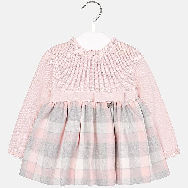 Платье Mayoral для девочкиОдежда<br>Характеристики товара:<br><br>• цвет: розовый<br>• состав ткани: 50% хлопок, 30% полиэстер, 20% акрил, подкладка - 100% хлопок<br>• сезон: демисезон<br>• особенности: бант на поясе<br>• застежка: пуговицы<br>• длинные рукава<br>• страна бренда: Испания<br>• страна изготовитель: Индия<br><br>Это симпатичное детское платье сделано из дышащего приятного на ощупь материала. Благодаря качественной хлопковой ткани детского платья для девочки создаются комфортные условия для тела. Платье для девочки отличается стильным продуманным дизайном.<br><br>Платье для девочки Mayoral (Майорал) можно купить в нашем интернет-магазине.<br><br>Ширина мм: 236<br>Глубина мм: 16<br>Высота мм: 184<br>Вес г: 177<br>Цвет: розовый<br>Возраст от месяцев: 6<br>Возраст до месяцев: 9<br>Пол: Женский<br>Возраст: Детский<br>Размер: 74,98,92,86,80<br>SKU: 6920669