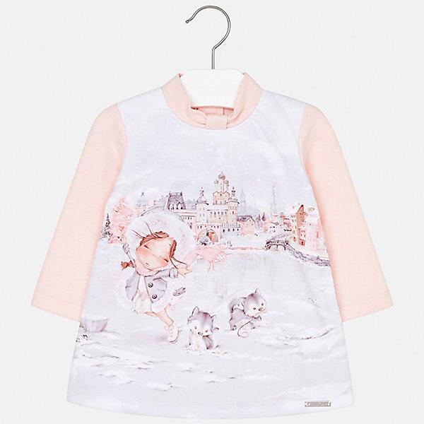 Платье для девочки MayoralПлатья и сарафаны<br>Характеристики товара:<br><br>• цвет: розовый<br>• состав ткани: 40% хлопок, 55% полиэстер, 5% эластан, подкладка - 60% хлопок, 40% полиэстер<br>• сезон: демисезон<br>• особенности: принт<br>• застежка: кнопки<br>• длинные рукава<br>• страна бренда: Испания<br>• страна изготовитель: Индия<br><br>Теплое платье для девочки от Майорал подарит ребенку удобство и аккуратный внешний вид. Детское платье отличается модным и продуманным дизайном. В платье с длинным рукавом для девочки от испанской компании Майорал ребенок будет выглядеть модно, а чувствовать себя - комфортно. <br><br>Платье для девочки Mayoral (Майорал) можно купить в нашем интернет-магазине.<br>Ширина мм: 236; Глубина мм: 16; Высота мм: 184; Вес г: 177; Цвет: розовый; Возраст от месяцев: 12; Возраст до месяцев: 18; Пол: Женский; Возраст: Детский; Размер: 86,98,92,80,74; SKU: 6920699;