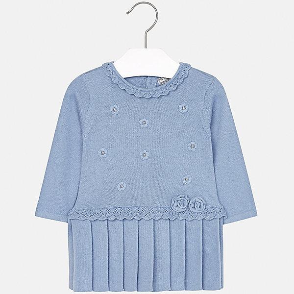 Платье Mayoral для девочкиПлатья<br>Характеристики товара:<br><br>• цвет: голубой<br>• состав ткани: 60% хлопок, 30% полиамид, 10% ангора<br>• сезон: демисезон<br>• особенности: стразы<br>• застежка: пуговицы<br>• длинные рукава<br>• страна бренда: Испания<br>• страна изготовитель: Индия<br><br>Вязаное детское платье сделано из дышащего приятного на ощупь материала. Благодаря качественной хлопковой пряже детского платья для девочки создаются комфортные условия для тела. Платье для девочки отличается стильным продуманным дизайном.<br><br>Платье для девочки Mayoral (Майорал) можно купить в нашем интернет-магазине.<br>Ширина мм: 236; Глубина мм: 16; Высота мм: 184; Вес г: 177; Цвет: голубой; Возраст от месяцев: 12; Возраст до месяцев: 15; Пол: Женский; Возраст: Детский; Размер: 80,74,98,92,86; SKU: 6920717;