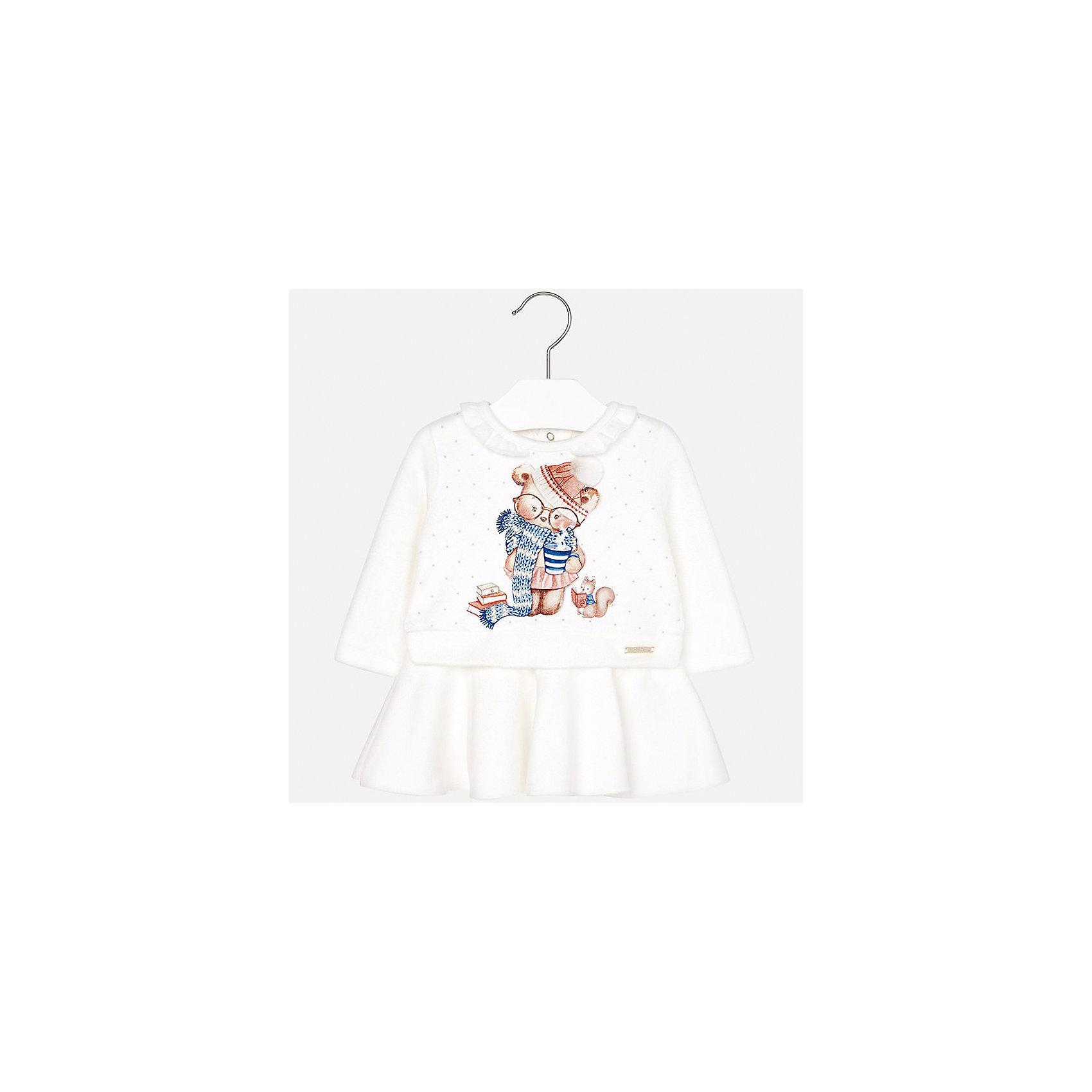 Платье Mayoral для девочкиПлатья<br>Характеристики товара:<br><br>• цвет: белый<br>• состав ткани: 65% полиэстер, 30% хлопок, 5% эластан<br>• сезон: демисезон<br>• особенности: аппликация<br>• застежка: кнопки<br>• короткие рукава<br>• страна бренда: Испания<br>• страна изготовитель: Индия<br><br>Симпатичное детское платье сделано из дышащего приятного на ощупь материала. Благодаря качественной ткани детского платья для девочки создаются комфортные условия для тела. Платье для девочки отличается стильным продуманным дизайном.<br><br>Платье для девочки Mayoral (Майорал) можно купить в нашем интернет-магазине.<br><br>Ширина мм: 236<br>Глубина мм: 16<br>Высота мм: 184<br>Вес г: 177<br>Цвет: бежевый<br>Возраст от месяцев: 24<br>Возраст до месяцев: 36<br>Пол: Женский<br>Возраст: Детский<br>Размер: 98,74,80,86,92<br>SKU: 6920771