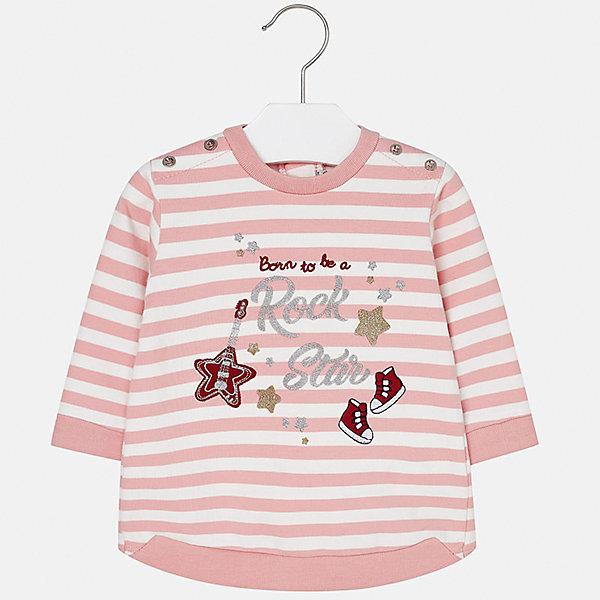 Платье для девочки MayoralПлатья и сарафаны<br>Характеристики товара:<br><br>• цвет: розовый<br>• состав ткани: 75% хлопок, 20% полиэстер, 5% эластан<br>• сезон: демисезон<br>• особенности: принт с блестками<br>• застежка: кнопки<br>• длинные рукава<br>• страна бренда: Испания<br>• страна изготовитель: Индия<br><br>Оригинальное детское платье с принтом сделано из дышащего приятного на ощупь материала. Благодаря качественной ткани детского платья для девочки создаются комфортные условия для тела. Платье для девочки отличается модным принтом.<br><br>Платье для девочки Mayoral (Майорал) можно купить в нашем интернет-магазине.<br>Ширина мм: 236; Глубина мм: 16; Высота мм: 184; Вес г: 177; Цвет: розовый; Возраст от месяцев: 6; Возраст до месяцев: 9; Пол: Женский; Возраст: Детский; Размер: 74,98,92,86,80; SKU: 6920789;