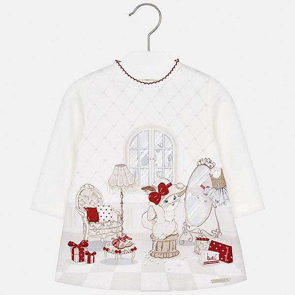 Платье для девочки MayoralОсенне-зимние платья и сарафаны<br>Характеристики товара:<br><br>• цвет: белый<br>• состав ткани: 45% хлопок, 50% полиэстер, 5% эластан<br>• сезон: демисезон<br>• особенности: принт<br>• застежка: кнопки<br>• длинные рукава<br>• страна бренда: Испания<br>• страна изготовитель: Индия<br><br>Это детское платье отличается модным и продуманным дизайном. Платье с принтом для девочки от Майорал подарит ребенку комфорт. В симпатичном платье для девочки от Майорал ребенок будет выглядеть модно, а чувствовать себя удобно. <br><br>Платье для девочки Mayoral (Майорал) можно купить в нашем интернет-магазине.<br><br>Ширина мм: 236<br>Глубина мм: 16<br>Высота мм: 184<br>Вес г: 177<br>Цвет: бежевый/красный<br>Возраст от месяцев: 12<br>Возраст до месяцев: 15<br>Пол: Женский<br>Возраст: Детский<br>Размер: 80,74,98,92,86<br>SKU: 6920819