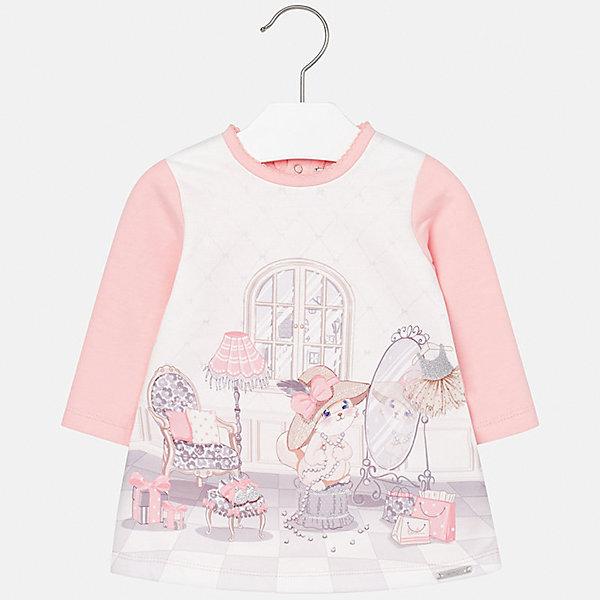 Платье Mayoral для девочкиПлатья<br>Характеристики товара:<br><br>• цвет: розовый<br>• состав ткани: 45% хлопок, 50% полиэстер, 5% эластан<br>• сезон: демисезон<br>• особенности: принт<br>• застежка: кнопки<br>• длинные рукава<br>• страна бренда: Испания<br>• страна изготовитель: Индия<br><br>Это детское платье с принтом сделано из дышащего приятного на ощупь материала. Благодаря качественной ткани детского платья для девочки создаются комфортные условия для тела. Платье для девочки отличается стильным принтом.<br><br>Платье для девочки Mayoral (Майорал) можно купить в нашем интернет-магазине.<br>Ширина мм: 236; Глубина мм: 16; Высота мм: 184; Вес г: 177; Цвет: светло-розовый; Возраст от месяцев: 6; Возраст до месяцев: 9; Пол: Женский; Возраст: Детский; Размер: 74,98,92,86,80; SKU: 6920825;