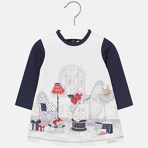 Платье Mayoral для девочкиПлатья<br>Характеристики товара:<br><br>• цвет: синий<br>• состав ткани: 45% хлопок, 50% полиэстер, 5% эластан<br>• сезон: демисезон<br>• особенности: принт<br>• застежка: кнопки<br>• длинные рукава<br>• страна бренда: Испания<br>• страна изготовитель: Индия<br><br>Оригинальное платье для девочки от Майорал подарит ребенку комфорт. В симпатичном платье для девочки от Майорал ребенок будет выглядеть модно, а чувствовать себя - комфортно. Детское платье отличается модным дизайном и принтом. <br><br>Платье для девочки Mayoral (Майорал) можно купить в нашем интернет-магазине.<br><br>Ширина мм: 236<br>Глубина мм: 16<br>Высота мм: 184<br>Вес г: 177<br>Цвет: синий<br>Возраст от месяцев: 6<br>Возраст до месяцев: 9<br>Пол: Женский<br>Возраст: Детский<br>Размер: 74,98,92,86,80<br>SKU: 6920831