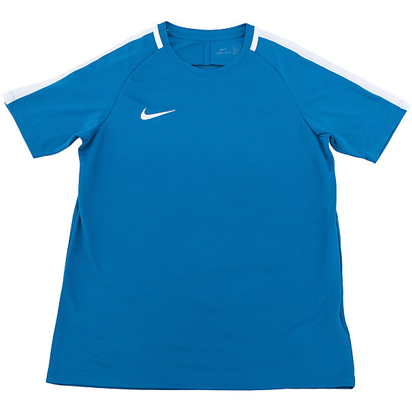 Футболка NIKEФутболки, поло и топы<br>Характеристики товара:<br><br>• цвет: голубой<br>• состав ткани: 100% полиэстер<br>• сезон: лето<br>• особенности модели: спортивный стиль<br>• технология: Dri-FIT<br>• короткие рукава<br>• страна бренда: США<br>• страна изготовитель: Китай<br><br>Детская спортивная футболка Nike выделяется ярким цветом и модный дизайном. Стильная футболка от Nike может быть одеждой для тренировок или дополнять наряд в спортивном стиле. Такая детская футболка сделана с применением технологии Dri-FIT, которая отводит влагу от тела. <br><br>Футболку Nike (Найк) можно купить в нашем интернет-магазине.<br><br>Ширина мм: 199<br>Глубина мм: 10<br>Высота мм: 161<br>Вес г: 151<br>Цвет: синий<br>Возраст от месяцев: 84<br>Возраст до месяцев: 96<br>Пол: Унисекс<br>Возраст: Детский<br>Размер: 122/128,158/170,147/158,135/140,128/134<br>SKU: 6921130