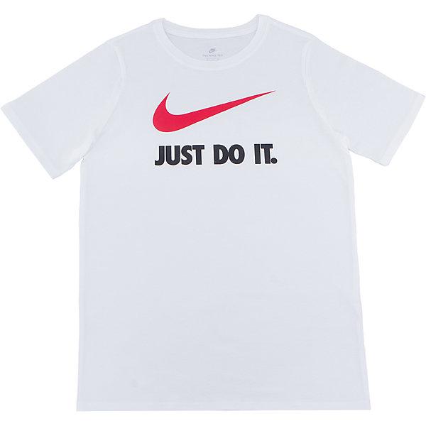 Футболка NIKEСпортивная форма<br>Характеристики товара:<br><br>• цвет: белый<br>• состав ткани: 100% хлопок<br>• сезон: лето<br>• особенности модели: спортивный стиль<br>• короткие рукава<br>• страна бренда: США<br>• страна изготовитель: Турция<br><br>Белая детская футболка сделана из натурального хлопка, позволяющего коже дышать. Эта спортивная футболка Nike декорирована логотипом и надписью Just Do It на груди. Стильная футболка от Nike может быть одеждой для тренировок или дополнять наряд в спортивном стиле.<br><br>Футболку Nike (Найк) можно купить в нашем интернет-магазине.<br><br>Ширина мм: 199<br>Глубина мм: 10<br>Высота мм: 161<br>Вес г: 151<br>Цвет: белый<br>Возраст от месяцев: 84<br>Возраст до месяцев: 96<br>Пол: Унисекс<br>Возраст: Детский<br>Размер: 122/128,158/170,147/158,135/140,128/134<br>SKU: 6921186