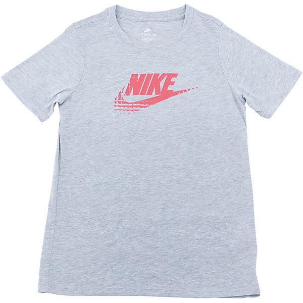 Футболка NIKEСпортивная форма<br>Характеристики товара:<br><br>• цвет: серый<br>• состав ткани: 50% полиэстер, 25% вискоза, 25% хлопок<br>• сезон: лето<br>• особенности модели: спортивный стиль<br>• короткие рукава<br>• страна бренда: США<br>• страна изготовитель: Турция<br><br>Серая спортивная футболка Nike декорирована логотипом на груди. Стильная футболка от Nike может быть одеждой для тренировок или дополнять наряд в спортивном стиле. Такая детская футболка сделана из легкого дышащего материала. <br><br>Футболку Nike (Найк) можно купить в нашем интернет-магазине.<br><br>Ширина мм: 199<br>Глубина мм: 10<br>Высота мм: 161<br>Вес г: 151<br>Цвет: серый<br>Возраст от месяцев: 84<br>Возраст до месяцев: 96<br>Пол: Унисекс<br>Возраст: Детский<br>Размер: 122/128,128/134,135/140,147/158,158/170<br>SKU: 6921214