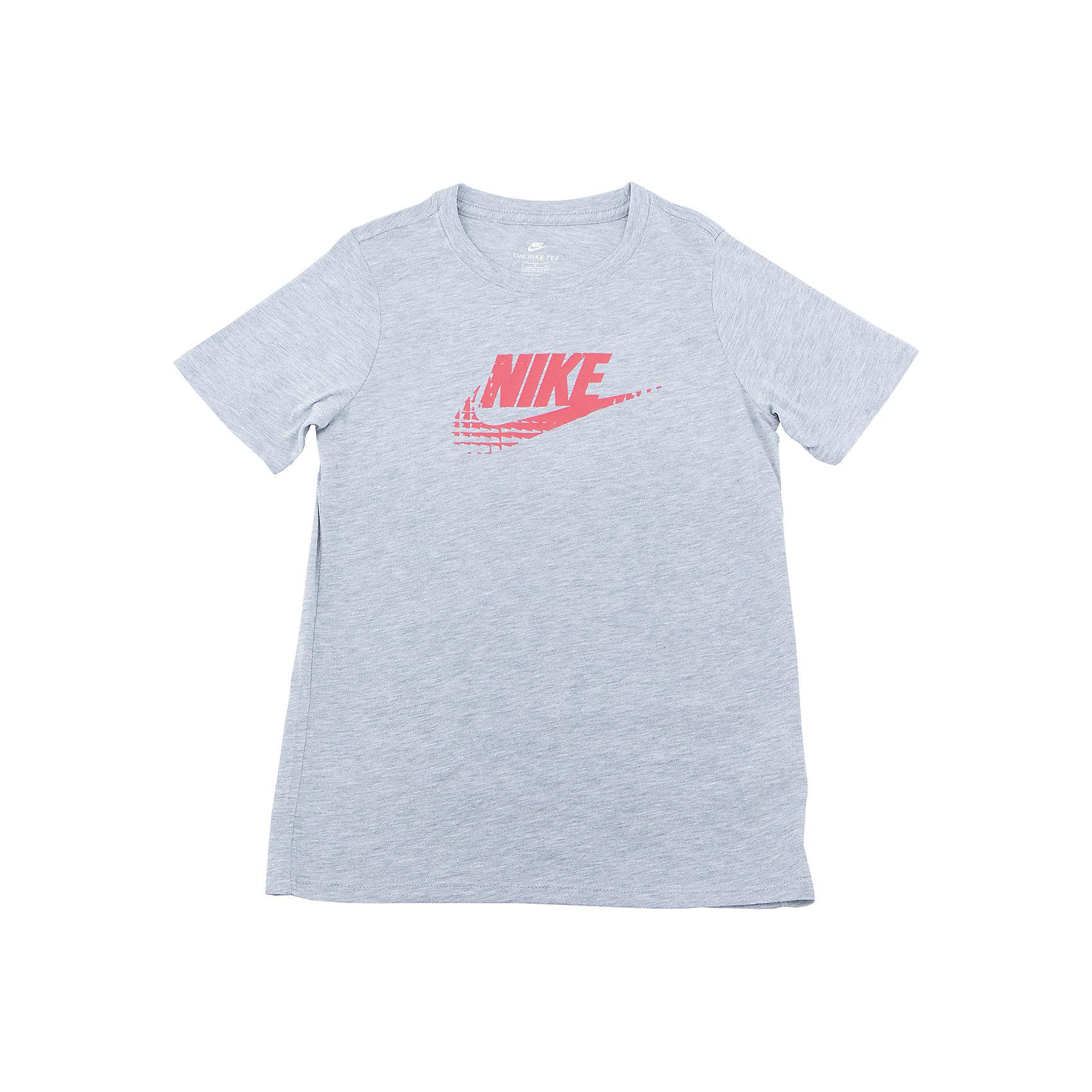 Футболка NIKEСпортивная форма<br>Характеристики товара:<br><br>• цвет: серый<br>• состав ткани: 50% полиэстер, 25% вискоза, 25% хлопок<br>• сезон: лето<br>• особенности модели: спортивный стиль<br>• короткие рукава<br>• страна бренда: США<br>• страна изготовитель: Турция<br><br>Серая спортивная футболка Nike декорирована логотипом на груди. Стильная футболка от Nike может быть одеждой для тренировок или дополнять наряд в спортивном стиле. Такая детская футболка сделана из легкого дышащего материала. <br><br>Футболку Nike (Найк) можно купить в нашем интернет-магазине.<br><br>Ширина мм: 199<br>Глубина мм: 10<br>Высота мм: 161<br>Вес г: 151<br>Цвет: серый<br>Возраст от месяцев: 96<br>Возраст до месяцев: 108<br>Пол: Унисекс<br>Возраст: Детский<br>Размер: 128/134,122/128,158/170,147/158,135/140<br>SKU: 6921214