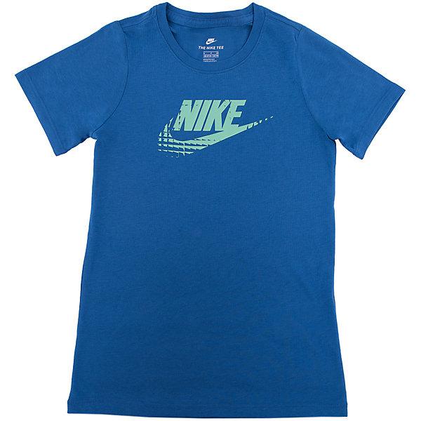 Футболка NIKEСпортивная форма<br>Характеристики товара:<br><br>• цвет: синий<br>• состав ткани: 50% полиэстер, 25% вискоза, 25% хлопок<br>• сезон: лето<br>• особенности модели: спортивный стиль<br>• короткие рукава<br>• страна бренда: США<br>• страна изготовитель: Турция<br><br>Такая футболка Найк выполнена в практичном, но красивом, цвете. Синяя спортивная футболка Nike отличается стильным и продуманным дизайном. Такая футболка от Nike может выступать в роли тренировочной одежды. Эта модель детской футболки поможет обеспечить ребенку комфорт. <br><br>Футболку Nike (Найк) можно купить в нашем интернет-магазине.<br>Ширина мм: 199; Глубина мм: 10; Высота мм: 161; Вес г: 151; Цвет: синий; Возраст от месяцев: 84; Возраст до месяцев: 96; Пол: Унисекс; Возраст: Детский; Размер: 122/128,158/170,128/134,135/140,147/158; SKU: 6921223;