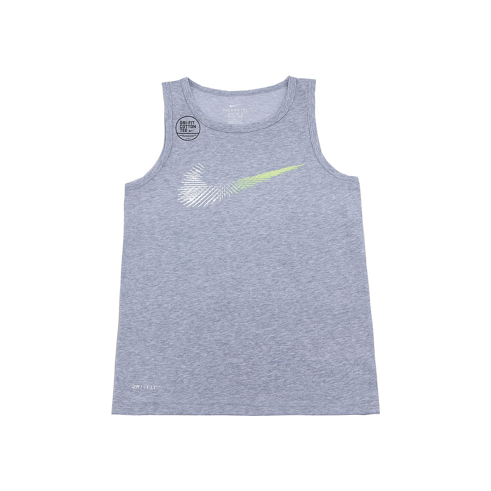 Майка NIKEСпортивная форма<br>Характеристики товара:<br><br>• цвет: серый<br>• состав ткани: 60% хлопок, 40% полиэстер<br>• сезон: лето<br>• особенности модели: спортивный стиль<br>• технология: Dri-FIT<br>• страна бренда: США<br>• страна изготовитель: Китай<br><br>Серая спортивная майка Nike декорирована логотипом на груди. Стильная майка от Nike может быть одеждой для тренировок или дополнять наряд в спортивном стиле. Такая детская майка сделана из легкого дышащего материала. <br><br>Майку Nike (Найк) можно купить в нашем интернет-магазине.<br><br>Ширина мм: 199<br>Глубина мм: 10<br>Высота мм: 161<br>Вес г: 151<br>Цвет: серый<br>Возраст от месяцев: 168<br>Возраст до месяцев: 180<br>Пол: Унисекс<br>Возраст: Детский<br>Размер: 158/170,122/128,128/134,135/140,147/158<br>SKU: 6921235