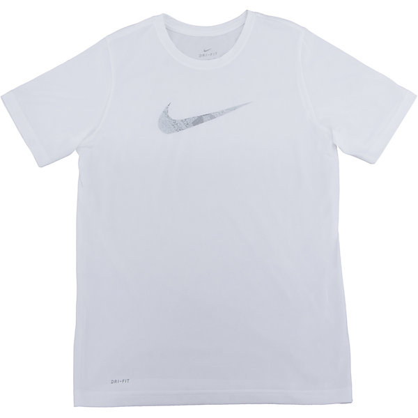 Футболка NIKEФутболки, поло и топы<br>Характеристики товара:<br><br>• цвет: белый<br>• состав ткани: 100% полиэстер<br>• сезон: лето<br>• особенности модели: спортивный стиль<br>• технология: Dri-FIT<br>• короткие рукава<br>• страна бренда: США<br>• страна изготовитель: Китай<br><br>Белая футболка Найк с влагоотводящей технологией Dri-FIT отличается мягкой и плотной обработкой горловины и рукавов. Спортивная футболка Nike выделяется стильным и продуманным дизайном. Такая футболка от Nike может выступать в роли тренировочной одежды. Эта модель детской футболки поможет обеспечить ребенку комфорт. <br><br>Футболку Nike (Найк) можно купить в нашем интернет-магазине.<br><br>Ширина мм: 199<br>Глубина мм: 10<br>Высота мм: 161<br>Вес г: 151<br>Цвет: белый<br>Возраст от месяцев: 144<br>Возраст до месяцев: 156<br>Пол: Унисекс<br>Возраст: Детский<br>Размер: 147/158,158/170,122/128,128/134,135/140<br>SKU: 6921361