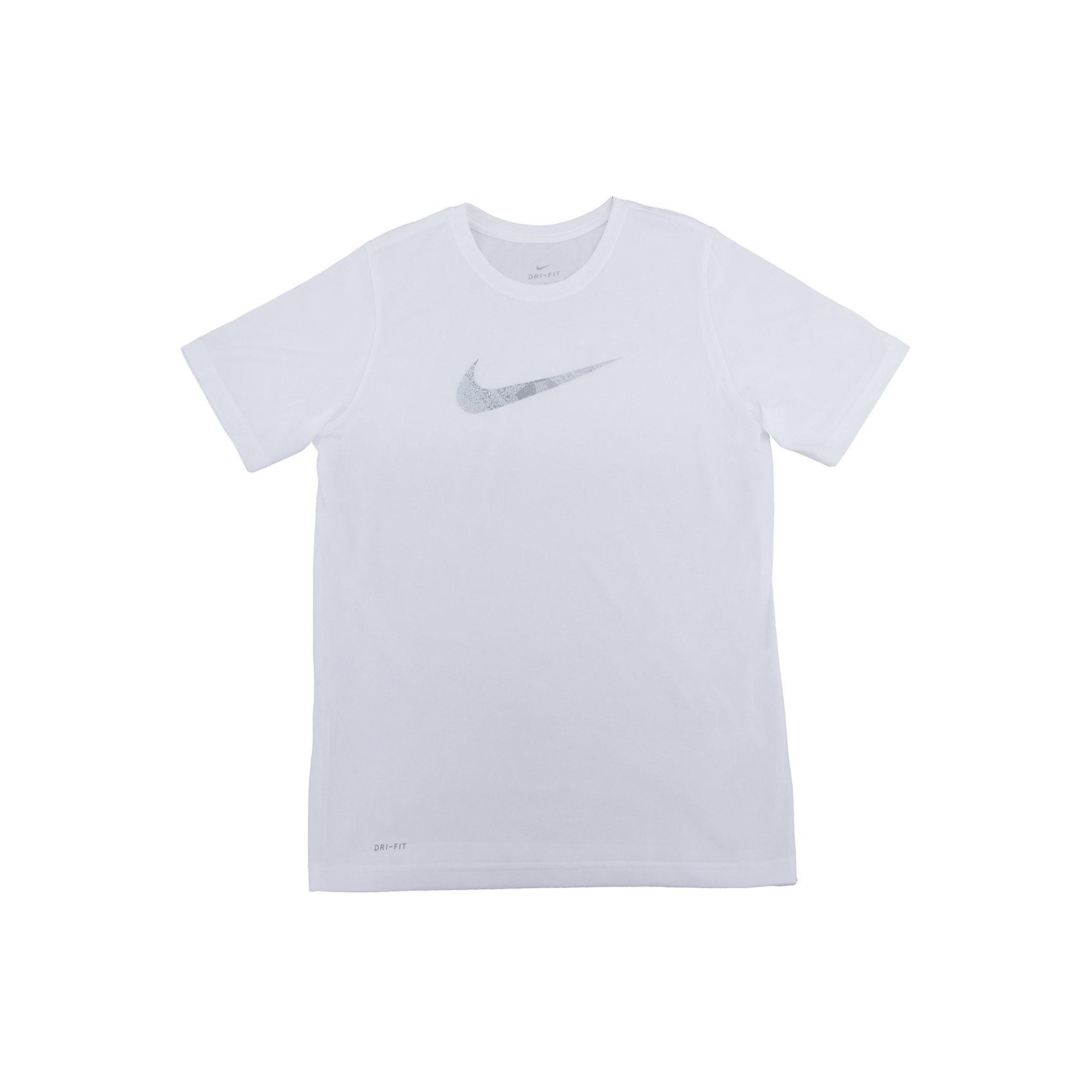Футболка NIKEФутболки, поло и топы<br>Характеристики товара:<br><br>• цвет: белый<br>• состав ткани: 100% полиэстер<br>• сезон: лето<br>• особенности модели: спортивный стиль<br>• технология: Dri-FIT<br>• короткие рукава<br>• страна бренда: США<br>• страна изготовитель: Китай<br><br>Белая футболка Найк с влагоотводящей технологией Dri-FIT отличается мягкой и плотной обработкой горловины и рукавов. Спортивная футболка Nike выделяется стильным и продуманным дизайном. Такая футболка от Nike может выступать в роли тренировочной одежды. Эта модель детской футболки поможет обеспечить ребенку комфорт. <br><br>Футболку Nike (Найк) можно купить в нашем интернет-магазине.<br><br>Ширина мм: 199<br>Глубина мм: 10<br>Высота мм: 161<br>Вес г: 151<br>Цвет: белый<br>Возраст от месяцев: 168<br>Возраст до месяцев: 180<br>Пол: Унисекс<br>Возраст: Детский<br>Размер: 158/170,147/158,135/140,128/134,122/128<br>SKU: 6921361