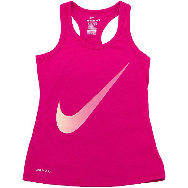 Майка NIKEСпортивная форма<br>Характеристики товара:<br><br>• цвет: розовый<br>• состав ткани: 60% хлопок, 40% полиэстер<br>• сезон: лето<br>• особенности модели: спортивный стиль<br>• технология: Dri-FIT<br>• страна бренда: США<br>• страна изготовитель: Китай<br><br>Яркая спортивная майка Nike декорирована большим логотипом. Стильная майка от Nike может быть одеждой для тренировок или дополнять наряд в спортивном стиле. Такая детская майка сделана из легкого дышащего материала с технологией Dri-FIT. <br><br>Майку Nike (Найк) можно купить в нашем интернет-магазине.<br>Ширина мм: 199; Глубина мм: 10; Высота мм: 161; Вес г: 151; Цвет: розовый; Возраст от месяцев: 84; Возраст до месяцев: 96; Пол: Унисекс; Возраст: Детский; Размер: 122/128,128/134,135/140,147/158,158/170; SKU: 6921404;