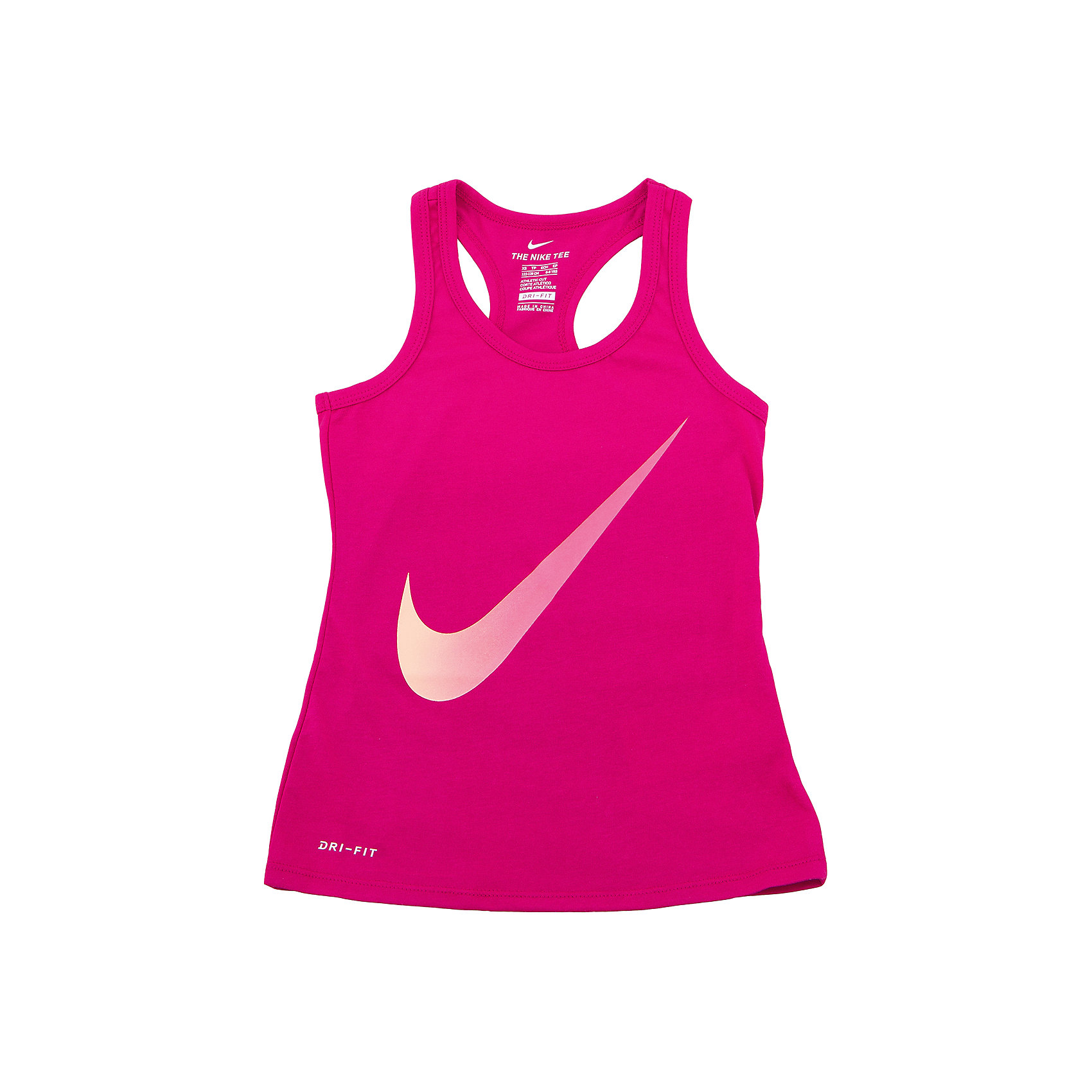 Майка NIKEСпортивная форма<br>Характеристики товара:<br><br>• цвет: розовый<br>• состав ткани: 60% хлопок, 40% полиэстер<br>• сезон: лето<br>• особенности модели: спортивный стиль<br>• технология: Dri-FIT<br>• страна бренда: США<br>• страна изготовитель: Китай<br><br>Яркая спортивная майка Nike декорирована большим логотипом. Стильная майка от Nike может быть одеждой для тренировок или дополнять наряд в спортивном стиле. Такая детская майка сделана из легкого дышащего материала с технологией Dri-FIT. <br><br>Майку Nike (Найк) можно купить в нашем интернет-магазине.<br><br>Ширина мм: 199<br>Глубина мм: 10<br>Высота мм: 161<br>Вес г: 151<br>Цвет: розовый<br>Возраст от месяцев: 96<br>Возраст до месяцев: 108<br>Пол: Унисекс<br>Возраст: Детский<br>Размер: 128/134,122/128,158/170,147/158,135/140<br>SKU: 6921404