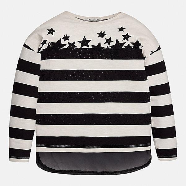 Футболка с длинным рукавом для девочки MayoralФутболки с длинным рукавом<br>Характеристики товара:<br><br>• цвет: черный<br>• состав ткани: 95% вискоза, 5% металлизированная нить<br>• длинные рукава<br>• сезон: круглый год<br>• страна бренда: Испания<br>• страна изготовитель: Индия<br><br>Эта футболка с длинным рукавом для девочки от известного испанского бренда Mayoral декорирована оригинальной отделкой. Детская футболка сшита из качественной легкой ткани.<br><br>Для производства детской одежды популярный бренд Mayoral используют только качественную фурнитуру и материалы. Оригинальные и модные вещи от Майорал неизменно привлекают внимание и нравятся детям.<br><br>Футболку с длинным рукавом для девочки Mayoral (Майорал) можно купить в нашем интернет-магазине.<br><br>Ширина мм: 230<br>Глубина мм: 40<br>Высота мм: 220<br>Вес г: 250<br>Цвет: черный<br>Возраст от месяцев: 96<br>Возраст до месяцев: 108<br>Пол: Женский<br>Возраст: Детский<br>Размер: 128/134,170,164,158,152,140<br>SKU: 6921599
