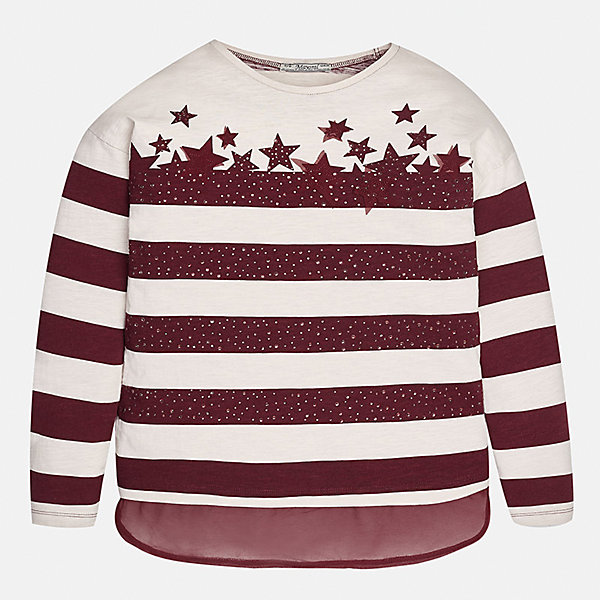 Футболка с длинным рукавом для девочки MayoralФутболки с длинным рукавом<br>Характеристики товара:<br><br>• цвет: красный<br>• состав ткани: 95% вискоза, 5% эластан<br>• длинные рукава<br>• сезон: круглый год<br>• страна бренда: Испания<br>• страна изготовитель: Индия<br><br>Красная футболка с длинным рукавом для девочки от популярного бренда Mayoral отличается прямым силуэтом и наличием оригинального принта. Детская футболка с длинным рукавом смотрится аккуратно и стильно.<br><br>В одежде от испанской компании Майорал ребенок будет выглядеть модно, а чувствовать себя - комфортно. Целая команда европейских талантливых дизайнеров работает над созданием стильных и оригинальных моделей одежды.<br><br>Футболку с длинным рукавом для девочки Mayoral (Майорал) можно купить в нашем интернет-магазине.<br><br>Ширина мм: 230<br>Глубина мм: 40<br>Высота мм: 220<br>Вес г: 250<br>Цвет: красный<br>Возраст от месяцев: 156<br>Возраст до месяцев: 168<br>Пол: Женский<br>Возраст: Детский<br>Размер: 164,152,140,128/134,170,158<br>SKU: 6921613