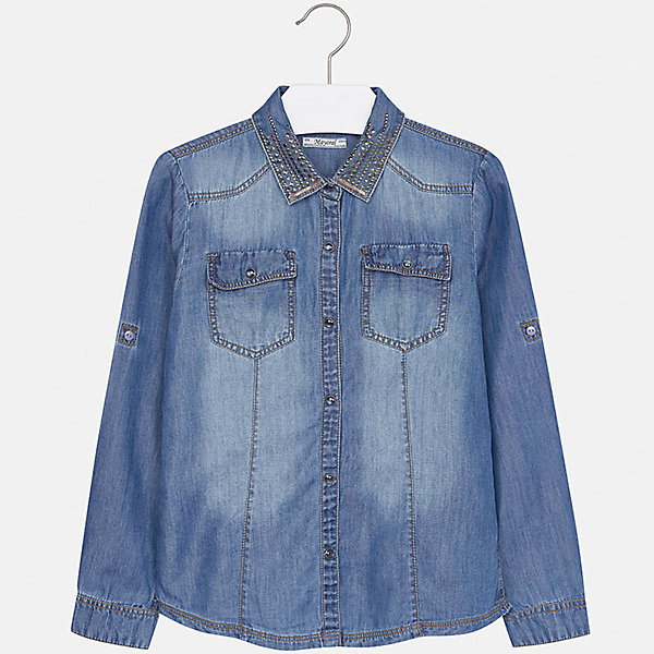 Купить Рубашка Mayoral для девочки, Индия, синий деним, 128/134, 170, 164, 158, 152, 140, Женский