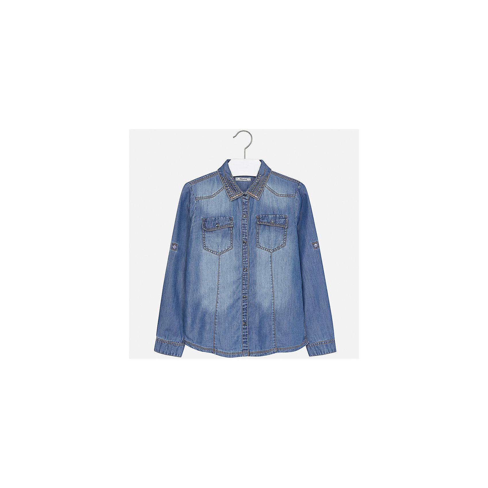 Рубашка Mayoral для девочкиБлузки и рубашки<br>Характеристики товара:<br><br>• цвет: синий<br>• состав ткани: 60% хлопок, 40% лиоцелл<br>• длинные рукава<br>• сезон: круглый год<br>• застежка: кнопки<br>• страна бренда: Испания<br>• страна изготовитель: Индия<br><br>Джинсовая блузка для девочки от известного испанского бренда Mayoral декорирована интересным отложным воротником. Детская блузка сшита из качественной ткани с преобладанием натурального хлопка в составе. <br><br>Для производства детской одежды популярный бренд Mayoral используют только качественную фурнитуру и материалы. Оригинальные и модные вещи от Майорал неизменно привлекают внимание и нравятся детям.<br><br>Блузку для девочки Mayoral (Майорал) можно купить в нашем интернет-магазине.<br><br>Ширина мм: 186<br>Глубина мм: 87<br>Высота мм: 198<br>Вес г: 197<br>Цвет: синий деним<br>Возраст от месяцев: 168<br>Возраст до месяцев: 180<br>Пол: Женский<br>Возраст: Детский<br>Размер: 170,164,158,152,140,128/134<br>SKU: 6921683