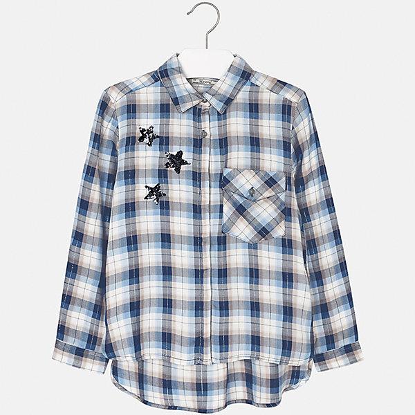 Блузка для девочки MayoralБлузки и рубашки<br>Характеристики товара:<br><br>• цвет: синий<br>• состав ткани: 100% вискоза<br>• длинные рукава<br>• сезон: круглый год<br>• застежка: пуговицы<br>• страна бренда: Испания<br>• страна изготовитель: Индия<br><br>Практичная и стильная блузка для девочки от популярного бренда Mayoral отличается прямым силуэтом и наличием кармана на груди. Детская блузка смотрится аккуратно и стильно.<br><br>В одежде от испанской компании Майорал ребенок будет выглядеть модно, а чувствовать себя - комфортно. Целая команда европейских талантливых дизайнеров работает над созданием стильных и оригинальных моделей одежды.<br><br>Блузку для девочки Mayoral (Майорал) можно купить в нашем интернет-магазине.<br>Ширина мм: 186; Глубина мм: 87; Высота мм: 198; Вес г: 197; Цвет: голубой; Возраст от месяцев: 156; Возраст до месяцев: 168; Пол: Женский; Возраст: Детский; Размер: 152,158,140,164,170,128/134; SKU: 6921697;