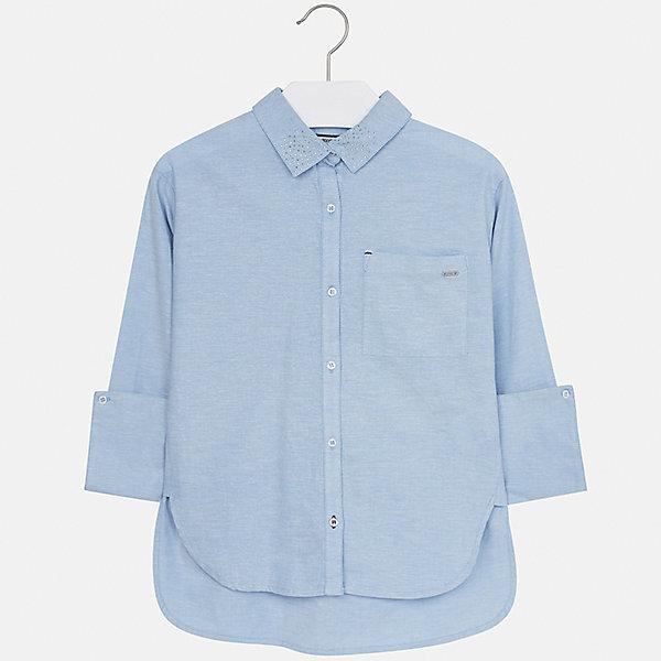 Рубашка Mayoral для девочкиБлузки и рубашки<br>Характеристики товара:<br><br>• цвет: голубой<br>• состав ткани: 100% хлопок<br>• длинные рукава<br>• сезон: круглый год<br>• застежка: пуговицы<br>• страна бренда: Испания<br>• страна изготовитель: Индия<br><br>Легкая блузка для девочки от известного испанского бренда Mayoral декорирована интересным отложным воротником. Детская блузка сшита из качественной ткани с наличием натурального хлопка в составе. <br><br>Для производства детской одежды популярный бренд Mayoral используют только качественную фурнитуру и материалы. Оригинальные и модные вещи от Майорал неизменно привлекают внимание и нравятся детям.<br><br>Блузку для девочки Mayoral (Майорал) можно купить в нашем интернет-магазине.<br><br>Ширина мм: 186<br>Глубина мм: 87<br>Высота мм: 198<br>Вес г: 197<br>Цвет: голубой<br>Возраст от месяцев: 132<br>Возраст до месяцев: 144<br>Пол: Женский<br>Возраст: Детский<br>Размер: 152,128/134,170,164,158,140<br>SKU: 6921704