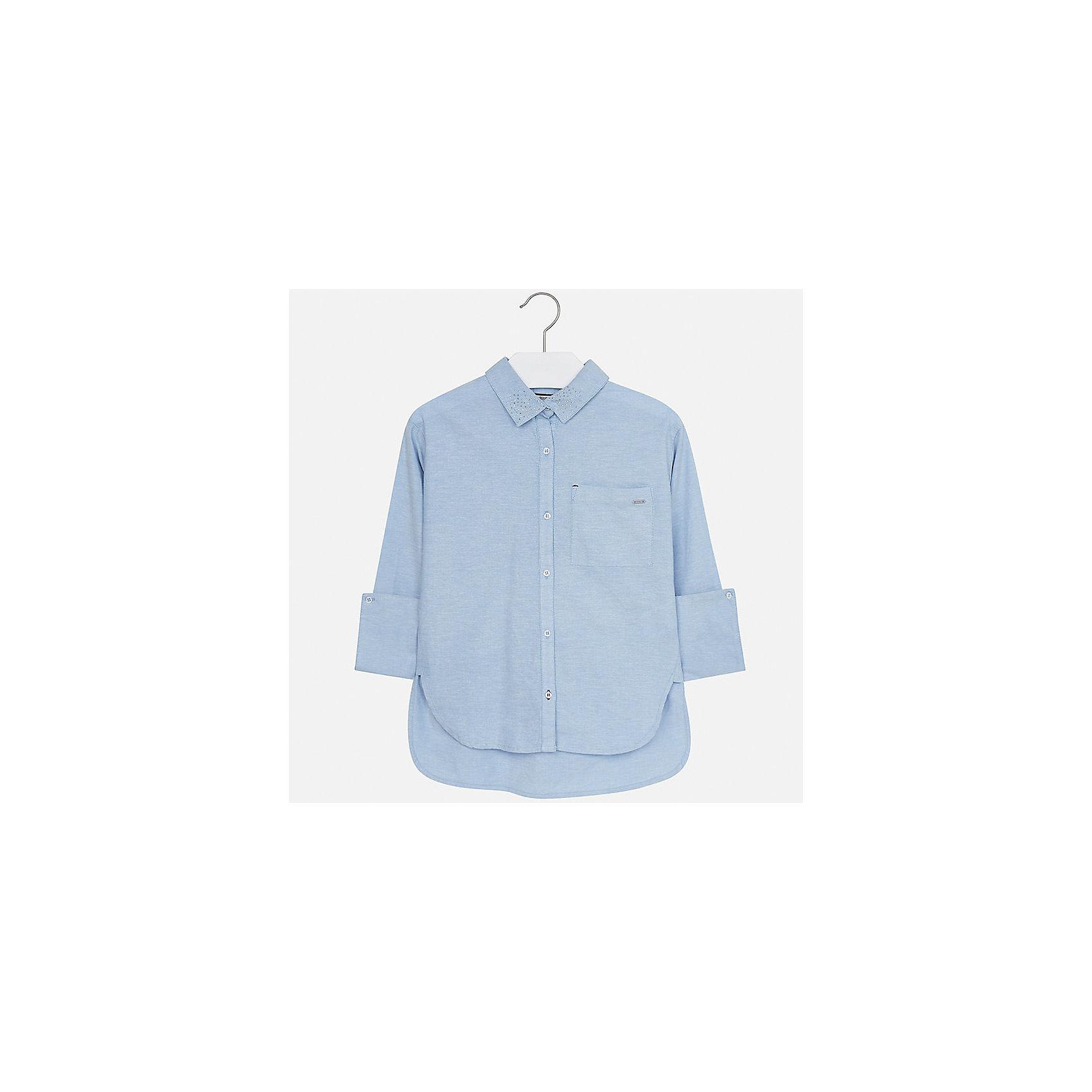 Рубашка Mayoral для девочкиБлузки и рубашки<br>Характеристики товара:<br><br>• цвет: голубой<br>• состав ткани: 100% хлопок<br>• длинные рукава<br>• сезон: круглый год<br>• застежка: пуговицы<br>• страна бренда: Испания<br>• страна изготовитель: Индия<br><br>Легкая блузка для девочки от известного испанского бренда Mayoral декорирована интересным отложным воротником. Детская блузка сшита из качественной ткани с наличием натурального хлопка в составе. <br><br>Для производства детской одежды популярный бренд Mayoral используют только качественную фурнитуру и материалы. Оригинальные и модные вещи от Майорал неизменно привлекают внимание и нравятся детям.<br><br>Блузку для девочки Mayoral (Майорал) можно купить в нашем интернет-магазине.<br><br>Ширина мм: 186<br>Глубина мм: 87<br>Высота мм: 198<br>Вес г: 197<br>Цвет: голубой<br>Возраст от месяцев: 168<br>Возраст до месяцев: 180<br>Пол: Женский<br>Возраст: Детский<br>Размер: 170,128/134,140,152,158,164<br>SKU: 6921704
