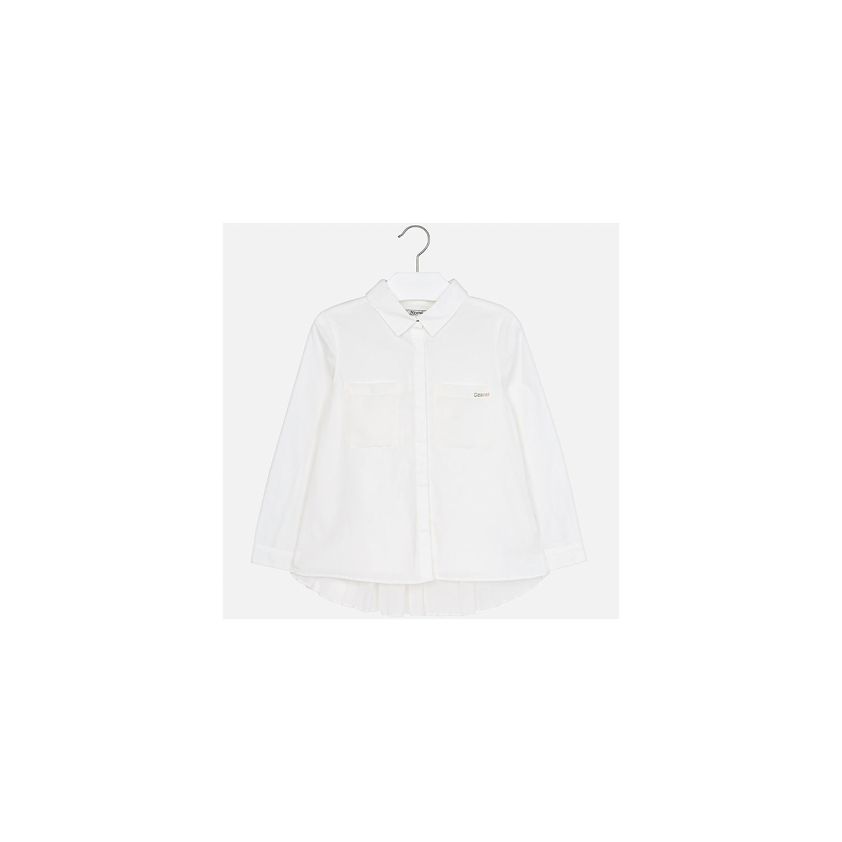 Рубашка Mayoral для девочкиБлузки и рубашки<br>Характеристики товара:<br><br>• цвет: бежевый<br>• состав ткани: 100% хлопок<br>• длинные рукава<br>• сезон: круглый год<br>• особенности модели: школьная<br>• застежка: пуговицы<br>• страна бренда: Испания<br>• страна изготовитель: Индия<br><br>Белая стильная блузка для девочки от популярного бренда Mayoral отличается наличием отложного воротника и карманов на груди. Детская блузка смотрится аккуратно и стильно.<br><br>В одежде от испанской компании Майорал ребенок будет выглядеть модно, а чувствовать себя - комфортно. Целая команда европейских талантливых дизайнеров работает над созданием стильных и оригинальных моделей одежды.<br><br>Блузку для девочки Mayoral (Майорал) можно купить в нашем интернет-магазине.<br><br>Ширина мм: 186<br>Глубина мм: 87<br>Высота мм: 198<br>Вес г: 197<br>Цвет: белый<br>Возраст от месяцев: 96<br>Возраст до месяцев: 108<br>Пол: Женский<br>Возраст: Детский<br>Размер: 128/134,170,164,158,152,140<br>SKU: 6921718