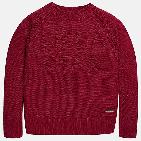 Свитер Mayoral для девочкиСвитера и кардиганы<br>Характеристики товара:<br><br>• цвет: красный<br>• состав ткани: 47% полиамид, 45% акрил, 8% ангора<br>• длинные рукава<br>• сезон: круглый год<br>• манжеты<br>• страна бренда: Испания<br>• страна изготовитель: Индия<br><br>Красный эффектный свитер от известного испанского бренда Mayoral декорирован вязаной надписью. Детский свитер сделан из качественной пряжи.<br><br>Для производства детской одежды популярный бренд Mayoral используют только качественную фурнитуру и материалы. Оригинальные и модные вещи от Майорал неизменно привлекают внимание и нравятся детям.<br><br>Свитер для девочки Mayoral (Майорал) можно купить в нашем интернет-магазине.<br>Ширина мм: 190; Глубина мм: 74; Высота мм: 229; Вес г: 236; Цвет: красный; Возраст от месяцев: 156; Возраст до месяцев: 168; Пол: Женский; Возраст: Детский; Размер: 164,170,158,152,140,128/134; SKU: 6921753;