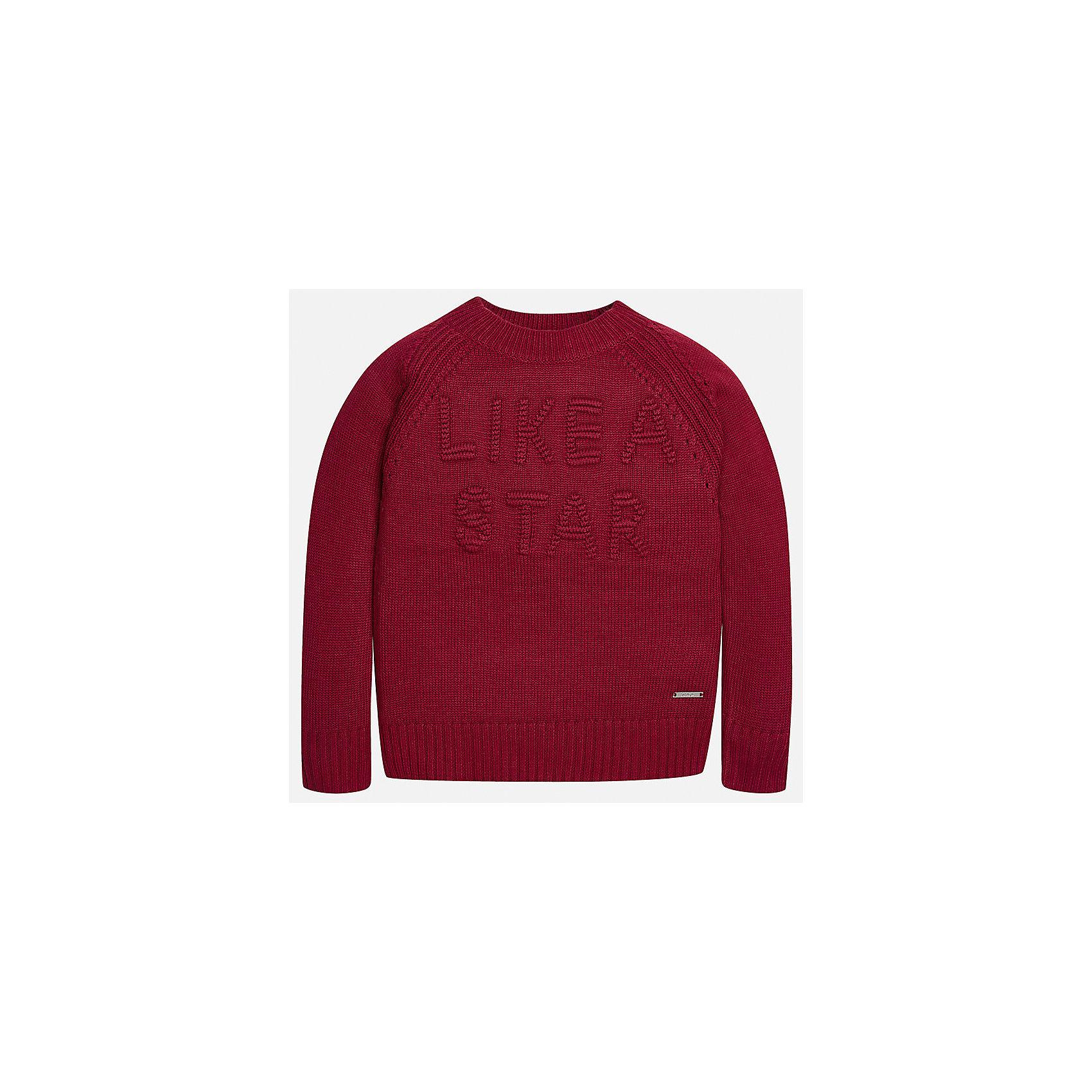 Свитер Mayoral для девочкиСвитера и кардиганы<br>Характеристики товара:<br><br>• цвет: красный<br>• состав ткани: 47% полиамид, 45% акрил, 8% ангора<br>• длинные рукава<br>• сезон: круглый год<br>• манжеты<br>• страна бренда: Испания<br>• страна изготовитель: Индия<br><br>Красный эффектный свитер от известного испанского бренда Mayoral декорирован вязаной надписью. Детский свитер сделан из качественной пряжи.<br><br>Для производства детской одежды популярный бренд Mayoral используют только качественную фурнитуру и материалы. Оригинальные и модные вещи от Майорал неизменно привлекают внимание и нравятся детям.<br><br>Свитер для девочки Mayoral (Майорал) можно купить в нашем интернет-магазине.<br><br>Ширина мм: 190<br>Глубина мм: 74<br>Высота мм: 229<br>Вес г: 236<br>Цвет: красный<br>Возраст от месяцев: 156<br>Возраст до месяцев: 168<br>Пол: Женский<br>Возраст: Детский<br>Размер: 164,170,152,140,128/134,158<br>SKU: 6921753