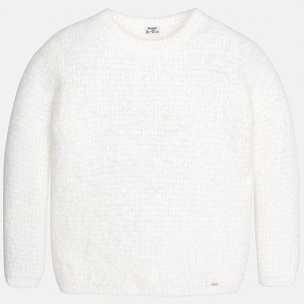 Свитер Mayoral для девочкиСвитера и кардиганы<br>Характеристики товара:<br><br>• цвет: бежевый<br>• состав ткани: 62% полиамид, 38% акрил,<br>• длинные рукава<br>• сезон: круглый год<br>• страна бренда: Испания<br>• страна изготовитель: Индия<br><br>Бежевый свитер для девочки от популярного бренда Mayoral отличается универсальной расцветкой и удобным кроем. Детский свитер смотрится аккуратно и стильно.<br><br>В одежде от испанской компании Майорал ребенок будет выглядеть модно, а чувствовать себя - комфортно. Целая команда европейских талантливых дизайнеров работает над созданием стильных и оригинальных моделей одежды.<br><br>Свитер для девочки Mayoral (Майорал) можно купить в нашем интернет-магазине.<br><br>Ширина мм: 190<br>Глубина мм: 74<br>Высота мм: 229<br>Вес г: 236<br>Цвет: белый<br>Возраст от месяцев: 168<br>Возраст до месяцев: 180<br>Пол: Женский<br>Возраст: Детский<br>Размер: 170,128/134,140,152,158,164<br>SKU: 6921788