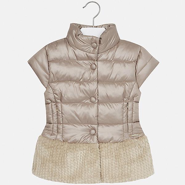 Жилет Mayoral для девочкиВерхняя одежда<br>Характеристики товара:<br><br>• цвет: коричневый<br>• состав ткани: 51% модакрил, 49% полиэстер, наполнитель - 100% полиэстер, подкладка - 65% полиэстер, 35% хлопок<br>• без рукавов<br>• сезон: круглый год<br>• застежка: молния, кнопки<br>• страна бренда: Испания<br>• страна изготовитель: Индия<br><br>Детский жилет от Mayoral подойдет и для зимней погоды, и для прохладного летнего вечера. Оригинальный жилет для девочки от Майорал поможет обеспечить ребенку тепло и комфорт. <br><br>Детская одежда от испанской компании Mayoral отличаются оригинальным и всегда стильным дизайном. Качество продукции неизменно очень высокое.<br><br>Жилет для девочки Mayoral (Майорал) можно купить в нашем интернет-магазине.<br>Ширина мм: 190; Глубина мм: 74; Высота мм: 229; Вес г: 236; Цвет: шампанское; Возраст от месяцев: 144; Возраст до месяцев: 156; Пол: Женский; Возраст: Детский; Размер: 158,170,140,152,164; SKU: 6921823;