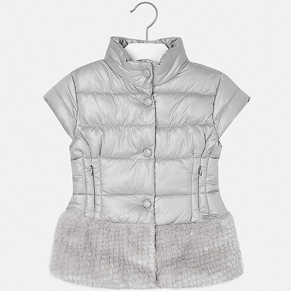 Жилет для девочки MayoralВерхняя одежда<br>Характеристики товара:<br><br>• цвет: серый<br>• состав ткани: 51% модакрил, 49% полиэстер, наполнитель - 100% полиэстер, подкладка - 65% полиэстер, 35% хлопок<br>• без рукавов<br>• сезон: круглый год<br>• застежка: молния, кнопки<br>• страна бренда: Испания<br>• страна изготовитель: Индия<br><br>Стильный серый жилет для девочки от Майорал поможет обеспечить ребенку тепло и комфорт. Детский жилет от Mayoral подойдет и для зимней погоды, и для прохладного летнего вечера. <br><br>В одежде от испанской компании Майорал ребенок будет выглядеть модно, а чувствовать себя - комфортно. Целая команда европейских талантливых дизайнеров работает над созданием стильных и оригинальных моделей одежды.<br><br>Жилет для девочки Mayoral (Майорал) можно купить в нашем интернет-магазине.<br><br>Ширина мм: 190<br>Глубина мм: 74<br>Высота мм: 229<br>Вес г: 236<br>Цвет: серый<br>Возраст от месяцев: 168<br>Возраст до месяцев: 180<br>Пол: Женский<br>Возраст: Детский<br>Размер: 170,164,152,140,158<br>SKU: 6921830