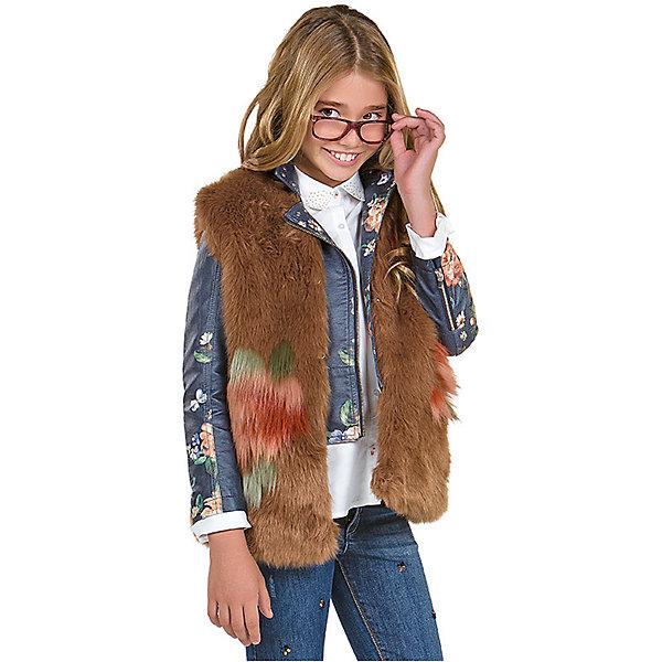 Жилет для девочки MayoralВерхняя одежда<br>Характеристики товара:<br><br>• цвет: коричневый<br>• состав ткани верха: - 85% акрил, 15% полиэстер<br>• подкладка: 100% полиэстер<br>• сезон: демисезон<br>• особенности модели: искусственный мех<br>• застежка: крючки<br>• без рукавов<br>• страна бренда: Испания<br>• страна изготовитель: Китай<br><br>Стильный детский жилет сделан из приятного на ощупь материала - искусственного меха. Благодаря качественной подкладке детского жилета для девочки создаются комфортные условия для тела. Меховой жилет для девочки отличается стильным продуманным дизайном.<br><br>Жилет для девочки Mayoral (Майорал) для девочки можно купить в нашем интернет-магазине.<br>Ширина мм: 190; Глубина мм: 74; Высота мм: 229; Вес г: 236; Цвет: коричневый; Возраст от месяцев: 168; Возраст до месяцев: 180; Пол: Женский; Возраст: Детский; Размер: 170,128/134,140,152,158,164; SKU: 6921836;