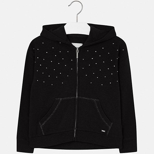 Куртка для девочки MayoralВерхняя одежда<br>Характеристики товара:<br><br>• цвет: черный<br>• состав ткани: 57% хлопок, 38% полиэстер, 5% эластан<br>• длинные рукава<br>• сезон: круглый год<br>• застежка: молния<br>• стразы<br>• капюшон<br>• страна бренда: Испания<br>• страна изготовитель: Индия<br><br>Эта детская курточка от Mayoral дополнена удобными карманами и капюшоном. Куртка для девочки сшита из приятного на ощупь хлопкового трикотажа.<br><br>Детская одежда от испанской компании Mayoral отличаются оригинальным и всегда стильным дизайном. Качество продукции неизменно очень высокое.<br><br>Куртку для девочки Mayoral (Майорал) можно купить в нашем интернет-магазине.<br><br>Ширина мм: 356<br>Глубина мм: 10<br>Высота мм: 245<br>Вес г: 519<br>Цвет: черный<br>Возраст от месяцев: 96<br>Возраст до месяцев: 108<br>Пол: Женский<br>Возраст: Детский<br>Размер: 128/134,170,164,158,152,140<br>SKU: 6921871