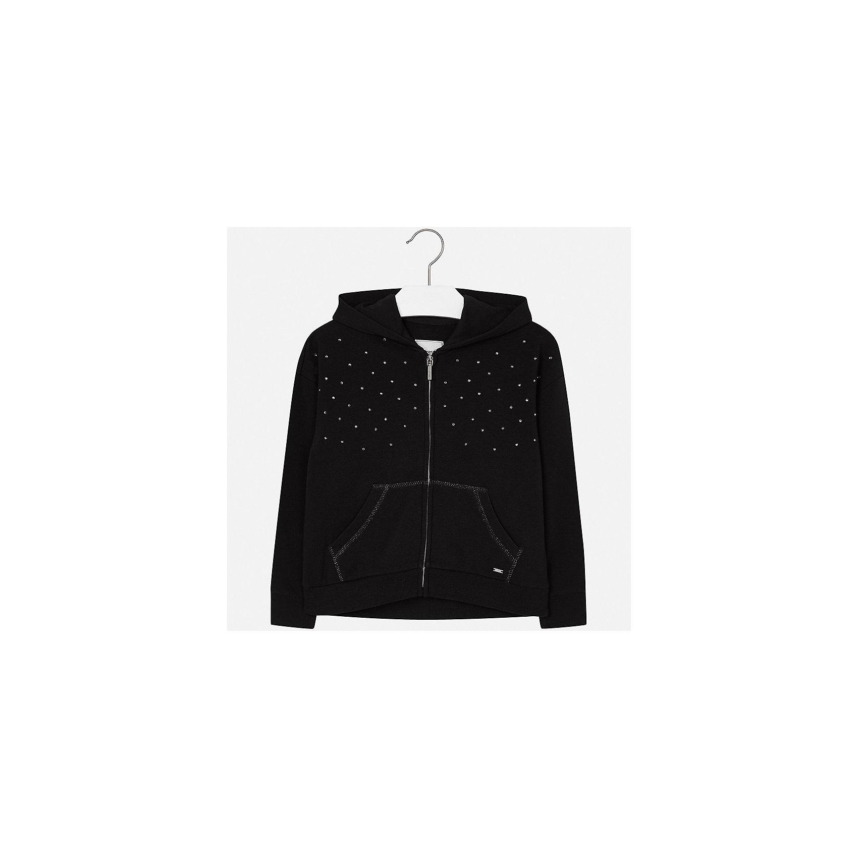 Куртка для девочки MayoralДемисезонные куртки<br>Характеристики товара:<br><br>• цвет: черный<br>• состав ткани: 57% хлопок, 38% полиэстер, 5% эластан<br>• длинные рукава<br>• сезон: круглый год<br>• застежка: молния<br>• стразы<br>• капюшон<br>• страна бренда: Испания<br>• страна изготовитель: Индия<br><br>Эта детская курточка от Mayoral дополнена удобными карманами и капюшоном. Куртка для девочки сшита из приятного на ощупь хлопкового трикотажа.<br><br>Детская одежда от испанской компании Mayoral отличаются оригинальным и всегда стильным дизайном. Качество продукции неизменно очень высокое.<br><br>Куртку для девочки Mayoral (Майорал) можно купить в нашем интернет-магазине.<br><br>Ширина мм: 356<br>Глубина мм: 10<br>Высота мм: 245<br>Вес г: 519<br>Цвет: черный<br>Возраст от месяцев: 144<br>Возраст до месяцев: 156<br>Пол: Женский<br>Возраст: Детский<br>Размер: 158,164,170,128/134,140,152<br>SKU: 6921871
