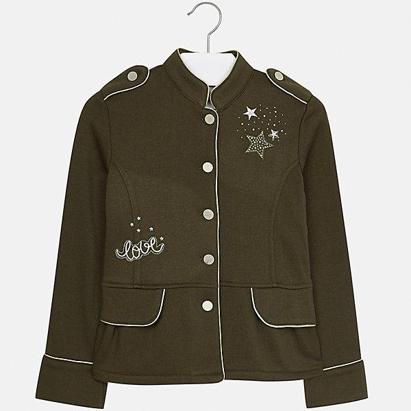Пиджак Mayoral для девочкиКостюмы и пиджаки<br>Характеристики товара:<br><br>• цвет: зеленый<br>• состав ткани: 65% полиэстер, 35% хлопок<br>• застежка: пуговицы<br>• стразы<br>• длинные рукава<br>• сезон: демисезон<br>• страна бренда: Испания<br>• страна изготовитель: Китай<br><br>Пиджак может быть не только строгим, эта модель выполнена в одном из моднейших оттенков наступающего сезона, отличается эффектной отделкой вышивкой и стразами. Отличный способ обеспечить ребенку тепло и комфорт - надеть стильный пиджак от Mayoral. <br><br>Для производства детской одежды популярный бренд Mayoral использует только качественную фурнитуру и материалы. Оригинальные и модные вещи от Майорал неизменно привлекают внимание и нравятся детям.<br><br>Пиджак для девочки Mayoral (Майорал) можно купить в нашем интернет-магазине.<br><br>Ширина мм: 190<br>Глубина мм: 74<br>Высота мм: 229<br>Вес г: 236<br>Цвет: зеленый<br>Возраст от месяцев: 96<br>Возраст до месяцев: 108<br>Пол: Женский<br>Возраст: Детский<br>Размер: 128/134,170,164,158,152,140<br>SKU: 6921982