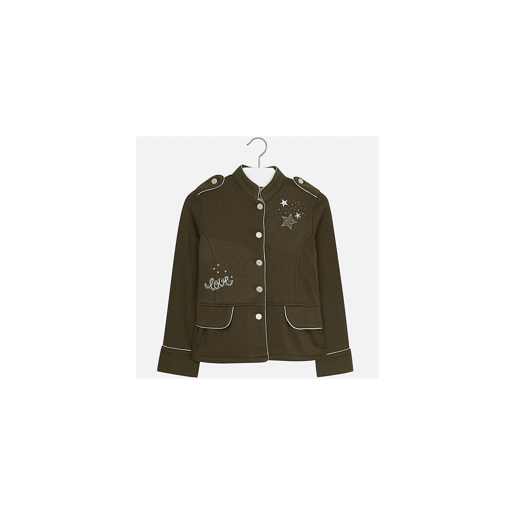 Пиджак Mayoral для девочкиКостюмы и пиджаки<br>Характеристики товара:<br><br>• цвет: зеленый<br>• состав ткани: 65% полиэстер, 35% хлопок<br>• застежка: пуговицы<br>• стразы<br>• длинные рукава<br>• сезон: демисезон<br>• страна бренда: Испания<br>• страна изготовитель: Китай<br><br>Пиджак может быть не только строгим, эта модель выполнена в одном из моднейших оттенков наступающего сезона, отличается эффектной отделкой вышивкой и стразами. Отличный способ обеспечить ребенку тепло и комфорт - надеть стильный пиджак от Mayoral. <br><br>Для производства детской одежды популярный бренд Mayoral использует только качественную фурнитуру и материалы. Оригинальные и модные вещи от Майорал неизменно привлекают внимание и нравятся детям.<br><br>Пиджак для девочки Mayoral (Майорал) можно купить в нашем интернет-магазине.<br><br>Ширина мм: 190<br>Глубина мм: 74<br>Высота мм: 229<br>Вес г: 236<br>Цвет: зеленый<br>Возраст от месяцев: 168<br>Возраст до месяцев: 180<br>Пол: Женский<br>Возраст: Детский<br>Размер: 170,128/134,140,152,158,164<br>SKU: 6921982