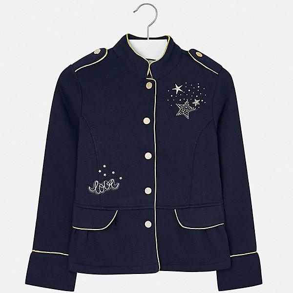 Пиджак для девочки MayoralКостюмы и пиджаки<br>Характеристики товара:<br><br>• цвет: черный<br>• состав ткани: 65% полиэстер, 35% хлопок<br>• застежка: пуговицы<br>• стразы<br>• длинные рукава<br>• сезон: демисезон<br>• страна бренда: Испания<br>• страна изготовитель: Китай<br><br>Отличный способ обеспечить ребенку тепло и комфорт - надеть стильный пиджак от Mayoral. Пиджак может быть не только строгим, эта модель выполнена в одном из моднейших стилей наступающего сезона - милитари, она отличается эффектной отделкой вышивкой и стразами. <br><br>В одежде от испанской компании Майорал ребенок будет выглядеть модно, а чувствовать себя - комфортно. Целая команда европейских талантливых дизайнеров работает над созданием стильных и оригинальных моделей одежды.<br><br>Пиджак для девочки Mayoral (Майорал) можно купить в нашем интернет-магазине.<br><br>Ширина мм: 190<br>Глубина мм: 74<br>Высота мм: 229<br>Вес г: 236<br>Цвет: темно-синий<br>Возраст от месяцев: 168<br>Возраст до месяцев: 180<br>Пол: Женский<br>Возраст: Детский<br>Размер: 170,128/134,140,152,158,164<br>SKU: 6921989