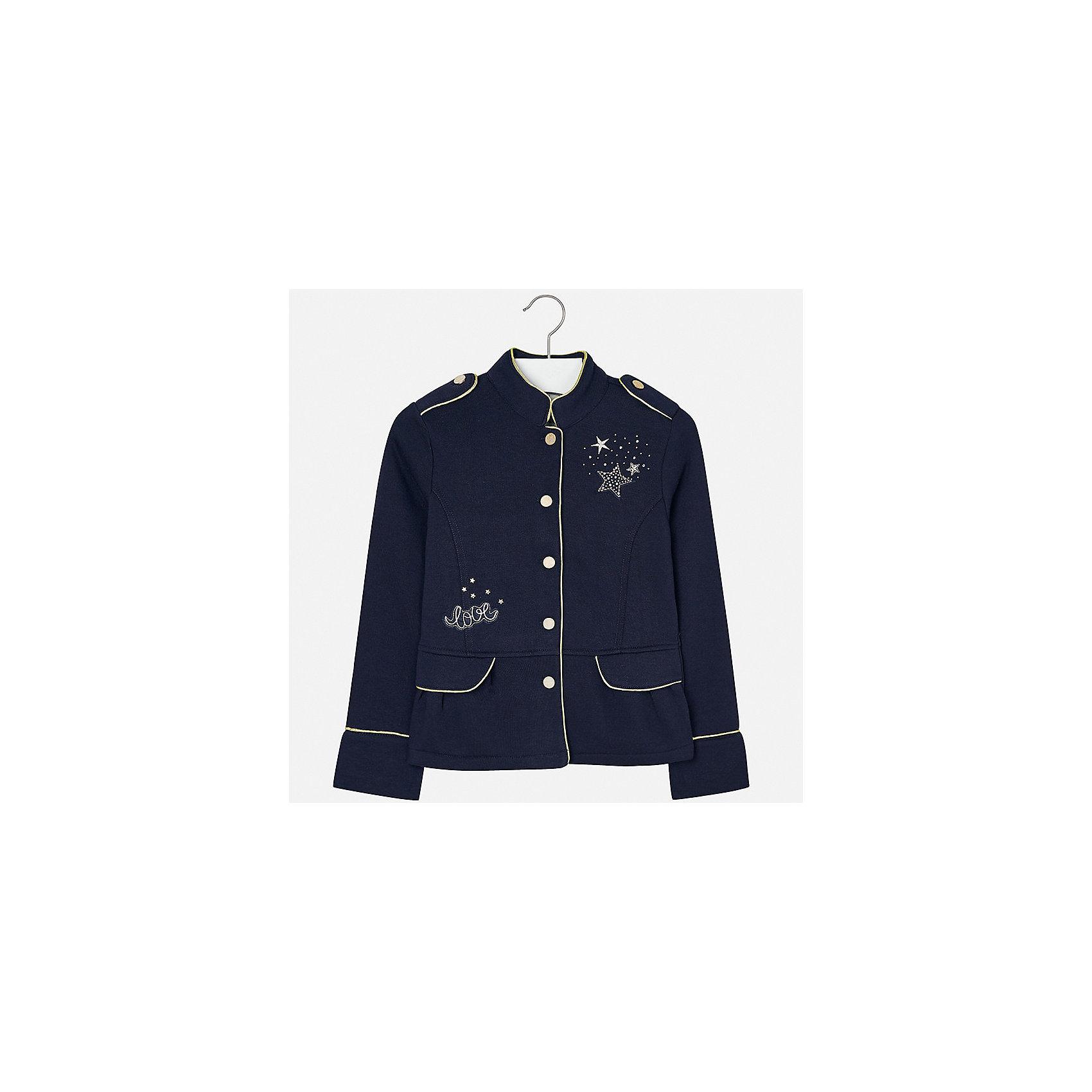 Пиджак для девочки MayoralКостюмы и пиджаки<br>Характеристики товара:<br><br>• цвет: черный<br>• состав ткани: 65% полиэстер, 35% хлопок<br>• застежка: пуговицы<br>• стразы<br>• длинные рукава<br>• сезон: демисезон<br>• страна бренда: Испания<br>• страна изготовитель: Китай<br><br>Отличный способ обеспечить ребенку тепло и комфорт - надеть стильный пиджак от Mayoral. Пиджак может быть не только строгим, эта модель выполнена в одном из моднейших стилей наступающего сезона - милитари, она отличается эффектной отделкой вышивкой и стразами. <br><br>В одежде от испанской компании Майорал ребенок будет выглядеть модно, а чувствовать себя - комфортно. Целая команда европейских талантливых дизайнеров работает над созданием стильных и оригинальных моделей одежды.<br><br>Пиджак для девочки Mayoral (Майорал) можно купить в нашем интернет-магазине.<br><br>Ширина мм: 190<br>Глубина мм: 74<br>Высота мм: 229<br>Вес г: 236<br>Цвет: темно-синий<br>Возраст от месяцев: 96<br>Возраст до месяцев: 108<br>Пол: Женский<br>Возраст: Детский<br>Размер: 128/134,140,152,158,164,170<br>SKU: 6921989
