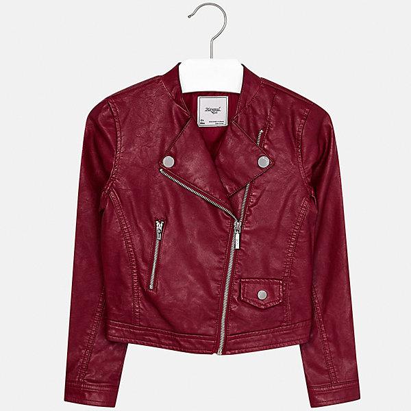 Куртка Mayoral для девочкиВерхняя одежда<br>Характеристики товара:<br><br>• цвет: красный<br>• состав ткани: 100% полиуретан, подклад - 100% полиэстер<br>• застежка: молния<br>• длинные рукава<br>• сезон: демисезон<br>• страна бренда: Испания<br>• страна изготовитель: Индия<br><br>Куртка с косой молнией снова стала одной из моднейших вещей. Отличный способ обеспечить ребенку тепло и комфорт - надеть стильный пиджак от Mayoral. <br><br>Для производства детской одежды популярный бренд Mayoral использует только качественную фурнитуру и материалы. Оригинальные и модные вещи от Майорал неизменно привлекают внимание и нравятся детям.<br><br>Куртку для девочки Mayoral (Майорал) можно купить в нашем интернет-магазине.<br><br>Ширина мм: 356<br>Глубина мм: 10<br>Высота мм: 245<br>Вес г: 519<br>Цвет: красный<br>Возраст от месяцев: 96<br>Возраст до месяцев: 108<br>Пол: Женский<br>Возраст: Детский<br>Размер: 128/134,170,164,158,152,140<br>SKU: 6922003