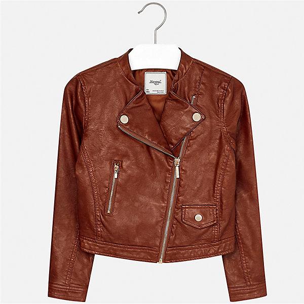 Куртка для девочки MayoralВерхняя одежда<br>Характеристики товара:<br><br>• цвет: коричневый<br>• состав ткани: 100% полиуретан, подклад - 100% полиэстер<br>• застежка: молния<br>• длинные рукава<br>• сезон: демисезон<br>• страна бренда: Испания<br>• страна изготовитель: Индия<br><br>Стильная куртка с косой молнией для девочки от Майорал поможет обеспечить тепло и комфорт. Эффектная детская куртка отличается укороченным силуэтом. <br><br>Детская одежда от испанской компании Mayoral отличаются оригинальным и всегда стильным дизайном. Качество продукции неизменно очень высокое.<br><br>Куртку для девочки Mayoral (Майорал) можно купить в нашем интернет-магазине.<br>Ширина мм: 356; Глубина мм: 10; Высота мм: 245; Вес г: 519; Цвет: коричневый; Возраст от месяцев: 96; Возраст до месяцев: 108; Пол: Женский; Возраст: Детский; Размер: 170,164,158,152,140,128/134; SKU: 6922017;
