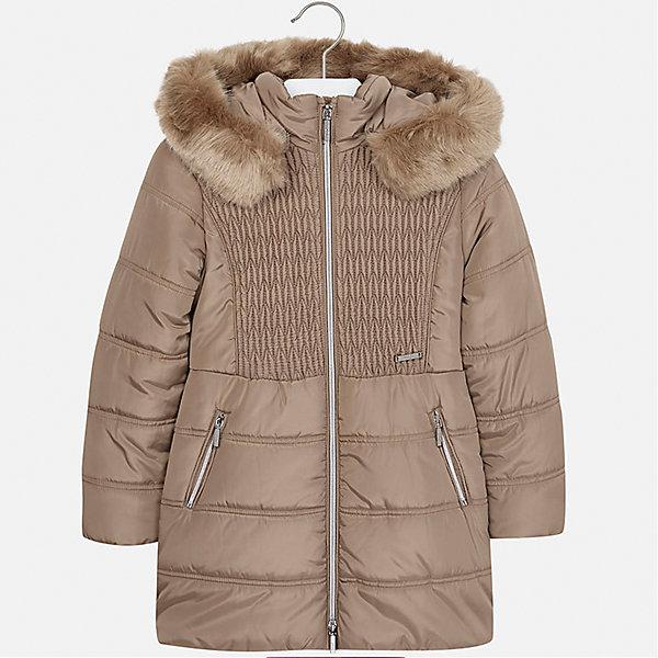 Куртка Mayoral для девочкиВерхняя одежда<br>Характеристики товара:<br><br>• цвет: бежевый<br>• состав ткани: 100% полиэстер, подклад - 100% полиэстер, утеплитель - 100% полиэстер<br>• застежка: молния<br>• капюшон с опушкой<br>• сезон: зима<br>• температурный режим: от  0 до -10<br>• страна бренда: Испания<br>• страна изготовитель: Индия<br><br>Бежевая стильная куртка с опушкой для девочки от Майорал поможет обеспечить тепло и комфорт. Эффектная детская куртка отличается удлиненным силуэтом и наличием капюшона. <br><br>Детская одежда от испанской компании Mayoral отличаются оригинальным и всегда стильным дизайном. Качество продукции неизменно очень высокое.<br><br>Куртку для девочки Mayoral (Майорал) можно купить в нашем интернет-магазине.<br><br>Ширина мм: 356<br>Глубина мм: 10<br>Высота мм: 245<br>Вес г: 519<br>Цвет: коричневый<br>Возраст от месяцев: 96<br>Возраст до месяцев: 108<br>Пол: Женский<br>Возраст: Детский<br>Размер: 128/134,170,164,158,152,140<br>SKU: 6922101