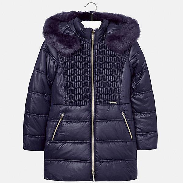Куртка Mayoral для девочкиВерхняя одежда<br>Характеристики товара:<br><br>• цвет: синий<br>• состав ткани: 100% полиэстер, подклад - 100% полиэстер, утеплитель - 100% полиэстер<br>• застежка: молния<br>• капюшон с опушкой<br>• сезон: зима<br>• температурный режим: от  0 до -10<br>• страна бренда: Испания<br>• страна изготовитель: Индия<br><br>Удлиненная утепленная куртка для девочки от Майорал поможет обеспечить тепло и комфорт. Эффектная детская куртка имеет удобные карманы и капюшон, который защитит от непогоды. <br><br>Для производства детской одежды популярный бренд Mayoral использует только качественную фурнитуру и материалы. Оригинальные и модные вещи от Майорал неизменно привлекают внимание и нравятся детям.<br><br>Куртку для девочки Mayoral (Майорал) можно купить в нашем интернет-магазине.<br>Ширина мм: 356; Глубина мм: 10; Высота мм: 245; Вес г: 519; Цвет: темно-синий; Возраст от месяцев: 96; Возраст до месяцев: 108; Пол: Женский; Возраст: Детский; Размер: 128/134,170,164,158,152,140; SKU: 6922108;
