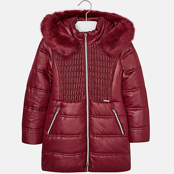 Куртка для девочки MayoralВерхняя одежда<br>Характеристики товара:<br><br>• цвет: красный<br>• состав ткани: 100% полиэстер, подклад - 100% полиэстер, утеплитель - 100% полиэстер<br>• застежка: молния<br>• длинные рукава<br>• сезон: зима<br>• температурный режим: от 0 до -10<br>• страна бренда: Испания<br>• страна изготовитель: Индия<br><br>Такая утепленная куртка поможет сделать образ стильным и оригинальным. Куртка с отделкой из искусственного меха соответствует новейшим тенденциям молодежной моды. <br><br>В одежде от испанской компании Майорал ребенок будет выглядеть модно, а чувствовать себя - комфортно. Целая команда европейских талантливых дизайнеров работает над созданием стильных и оригинальных моделей одежды.<br><br>Куртку для девочки Mayoral (Майорал) можно купить в нашем интернет-магазине.<br><br>Ширина мм: 356<br>Глубина мм: 10<br>Высота мм: 245<br>Вес г: 519<br>Цвет: красный<br>Возраст от месяцев: 96<br>Возраст до месяцев: 108<br>Пол: Женский<br>Возраст: Детский<br>Размер: 128/134,170,164,158,152,140<br>SKU: 6922115