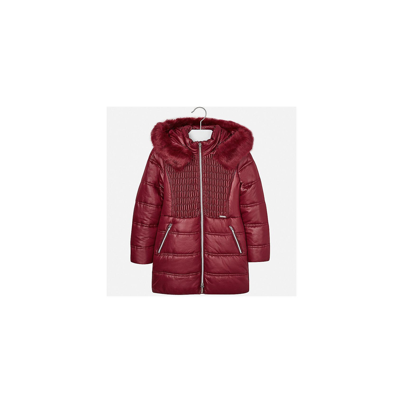 Куртка для девочки MayoralВерхняя одежда<br>Характеристики товара:<br><br>• цвет: красный<br>• состав ткани: 100% полиэстер, подклад - 100% полиэстер, утеплитель - 100% полиэстер<br>• застежка: молния<br>• длинные рукава<br>• сезон: зима<br>• температурный режим: от 0 до -10<br>• страна бренда: Испания<br>• страна изготовитель: Индия<br><br>Такая утепленная куртка поможет сделать образ стильным и оригинальным. Куртка с отделкой из искусственного меха соответствует новейшим тенденциям молодежной моды. <br><br>В одежде от испанской компании Майорал ребенок будет выглядеть модно, а чувствовать себя - комфортно. Целая команда европейских талантливых дизайнеров работает над созданием стильных и оригинальных моделей одежды.<br><br>Куртку для девочки Mayoral (Майорал) можно купить в нашем интернет-магазине.<br><br>Ширина мм: 356<br>Глубина мм: 10<br>Высота мм: 245<br>Вес г: 519<br>Цвет: красный<br>Возраст от месяцев: 168<br>Возраст до месяцев: 180<br>Пол: Женский<br>Возраст: Детский<br>Размер: 170,128/134,140,152,158,164<br>SKU: 6922115