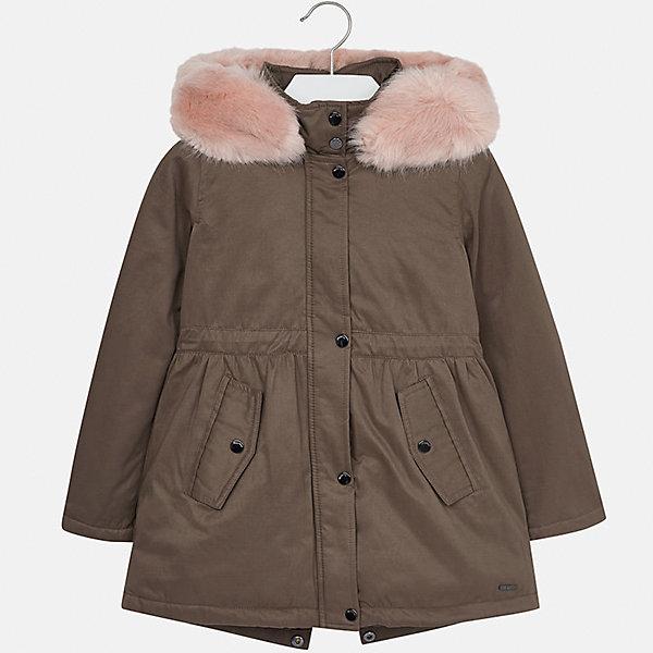 Куртка Mayoral для девочкиВерхняя одежда<br>Характеристики товара:<br><br>• цвет: коричневый<br>• состав ткани: 90% полиэстер, 10% полиамид, подклад - 100% полиэстер, утеплитель - 100% полиэстер<br>• застежка: молния<br>• капюшон с опушкой<br>• сезон: демисезон<br>• температурный режим: от от 0 до -10С<br>• страна бренда: Испания<br>• страна изготовитель: Индия<br><br>Куртка-парка с опушкой для девочки от Майорал поможет обеспечить тепло и комфорт. Эффектная детская куртка отличается удлиненным силуэтом и наличием капюшона. <br><br>Детская одежда от испанской компании Mayoral отличаются оригинальным и всегда стильным дизайном. Качество продукции неизменно очень высокое.<br><br>Куртку для девочки Mayoral (Майорал) можно купить в нашем интернет-магазине.<br><br>Ширина мм: 356<br>Глубина мм: 10<br>Высота мм: 245<br>Вес г: 519<br>Цвет: зеленый/розовый<br>Возраст от месяцев: 96<br>Возраст до месяцев: 108<br>Пол: Женский<br>Возраст: Детский<br>Размер: 128/134,170,164,158,152,140<br>SKU: 6922164