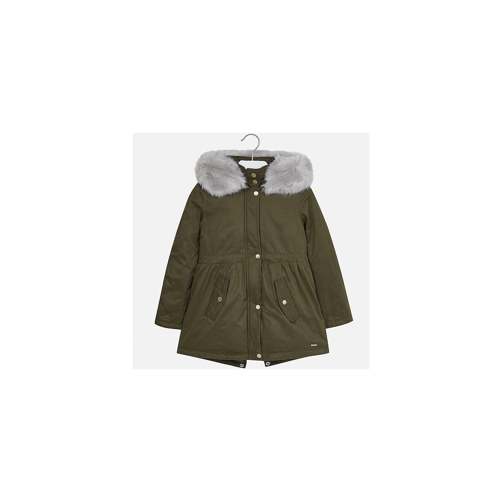 Куртка Mayoral для девочкиВерхняя одежда<br>Характеристики товара:<br><br>• цвет: зеленый<br>• состав ткани: 90% полиэстер, 10% полиамид, подклад - 100% полиэстер, утеплитель - 100% полиэстер<br>• застежка: молния<br>• капюшон с опушкой<br>• сезон: демисезон<br>• температурный режим: от 0 до -10С<br>• страна бренда: Испания<br>• страна изготовитель: Индия<br><br>Зеленая утепленная куртка-парка для девочки от Майорал поможет обеспечить тепло и комфорт. Такая эффектная детская куртка имеет удобные карманы на кнопках и капюшон. <br><br>Для производства детской одежды популярный бренд Mayoral использует только качественную фурнитуру и материалы. Оригинальные и модные вещи от Майорал неизменно привлекают внимание и нравятся детям.<br><br>Куртку для девочки Mayoral (Майорал) можно купить в нашем интернет-магазине.<br><br>Ширина мм: 356<br>Глубина мм: 10<br>Высота мм: 245<br>Вес г: 519<br>Цвет: зеленый<br>Возраст от месяцев: 168<br>Возраст до месяцев: 180<br>Пол: Женский<br>Возраст: Детский<br>Размер: 170,128/134,140,152,158,164<br>SKU: 6922171