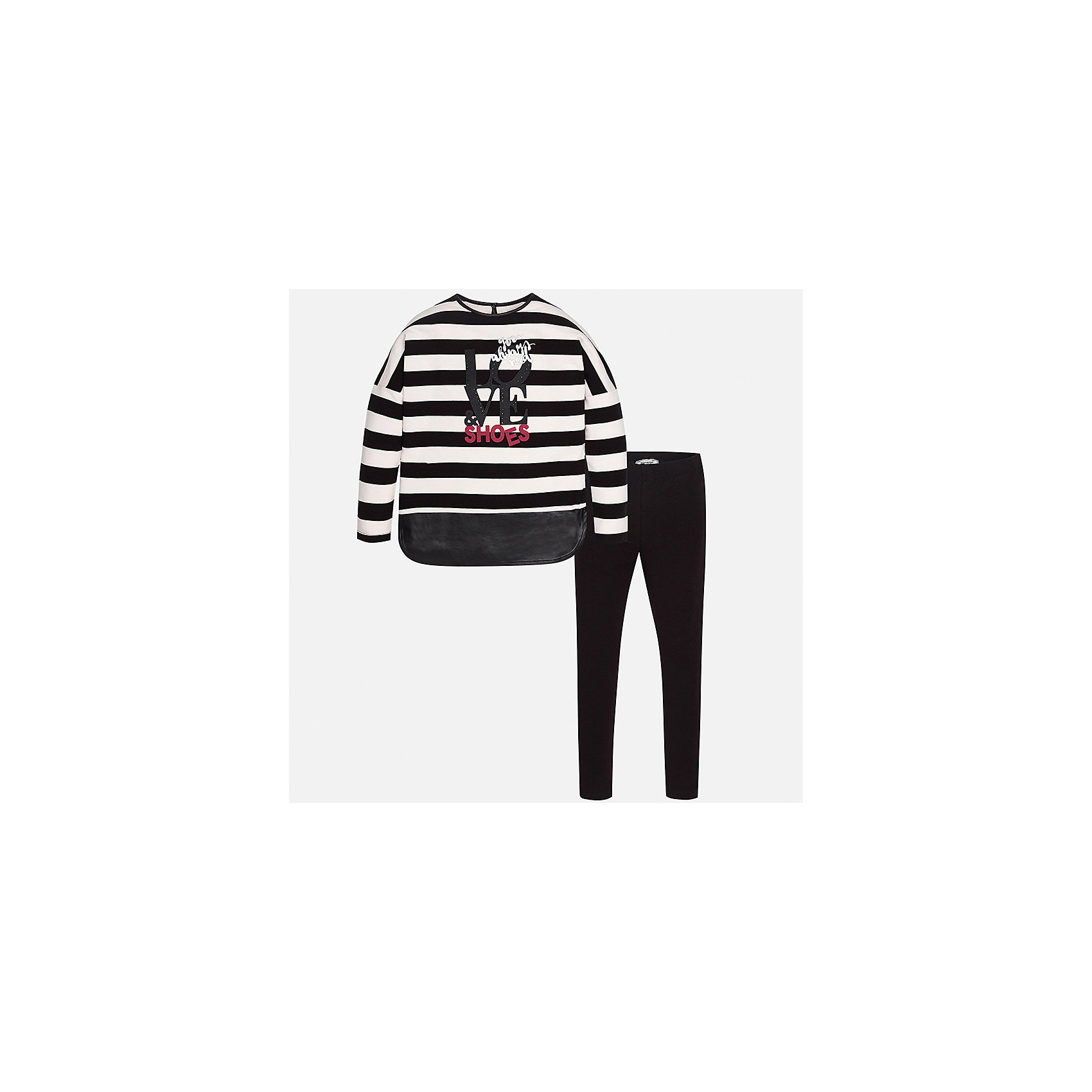Комплект: блузка и леггинсы Mayoral для девочкиКомплекты<br>Характеристики товара:<br><br>• цвет: черный<br>• комплектация: блузка и леггинсы<br>• состав ткани леггинсов: 95% хлопок, 5% эластан<br>• состав ткани блузки: 100% хлопок<br>• длинные рукава<br>• стразы<br>• пояс: резинка<br>• сезон: круглый год<br>• страна бренда: Испания<br>• страна изготовитель: Индия<br><br>Хлопковый комплект от известного испанского бренда Mayoral состоит из модной блузки с принтом и эластичных леггинсов. Они отлично сочетаются между собой, а также с другими вещами.<br><br>Для производства детской одежды популярный бренд Mayoral использует только качественную фурнитуру и материалы. Оригинальные и модные вещи от Майорал неизменно привлекают внимание и нравятся детям.<br><br>Комплект: блузка и леггинсы для девочки Mayoral (Майорал) можно купить в нашем интернет-магазине.<br><br>Ширина мм: 123<br>Глубина мм: 10<br>Высота мм: 149<br>Вес г: 209<br>Цвет: черный<br>Возраст от месяцев: 168<br>Возраст до месяцев: 180<br>Пол: Женский<br>Возраст: Детский<br>Размер: 170,140,152,158,164<br>SKU: 6922348
