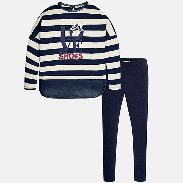 Комплект: блузка и леггинсы для девочки MayoralКомплекты<br>Характеристики товара:<br><br>• цвет: синий<br>• комплектация: блузка и леггинсы<br>• состав ткани леггинсов: 95% хлопок, 5% эластан<br>• состав ткани блузки: 100% хлопок<br>• длинные рукава<br>• стразы<br>• пояс: резинка<br>• сезон: круглый год<br>• страна бренда: Испания<br>• страна изготовитель: Индия<br><br>Удобный детский комплект от известного испанского бренда Mayoral состоит из модной блузки с принтом и эластичных леггинсов. Такое сочетание является очень актуальным в наступающем сезоне.<br><br>В одежде от испанской компании Майорал ребенок будет выглядеть модно, а чувствовать себя - комфортно. Целая команда европейских талантливых дизайнеров работает над созданием стильных и оригинальных моделей одежды.<br><br>Комплект: блузка и леггинсы для девочки Mayoral (Майорал) можно купить в нашем интернет-магазине.<br><br>Ширина мм: 123<br>Глубина мм: 10<br>Высота мм: 149<br>Вес г: 209<br>Цвет: синий<br>Возраст от месяцев: 156<br>Возраст до месяцев: 168<br>Пол: Женский<br>Возраст: Детский<br>Размер: 164,140,158,128/134,152,170<br>SKU: 6922354